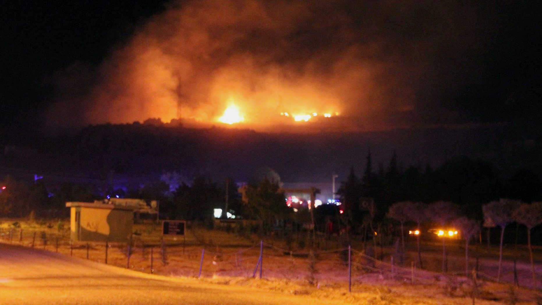 Sept. 6, 2012: A large fire seen after an explosion at an ammunition store in Afyonkarahisar in western Turkey which has killed some 25 soldiers and wounded at least four others.