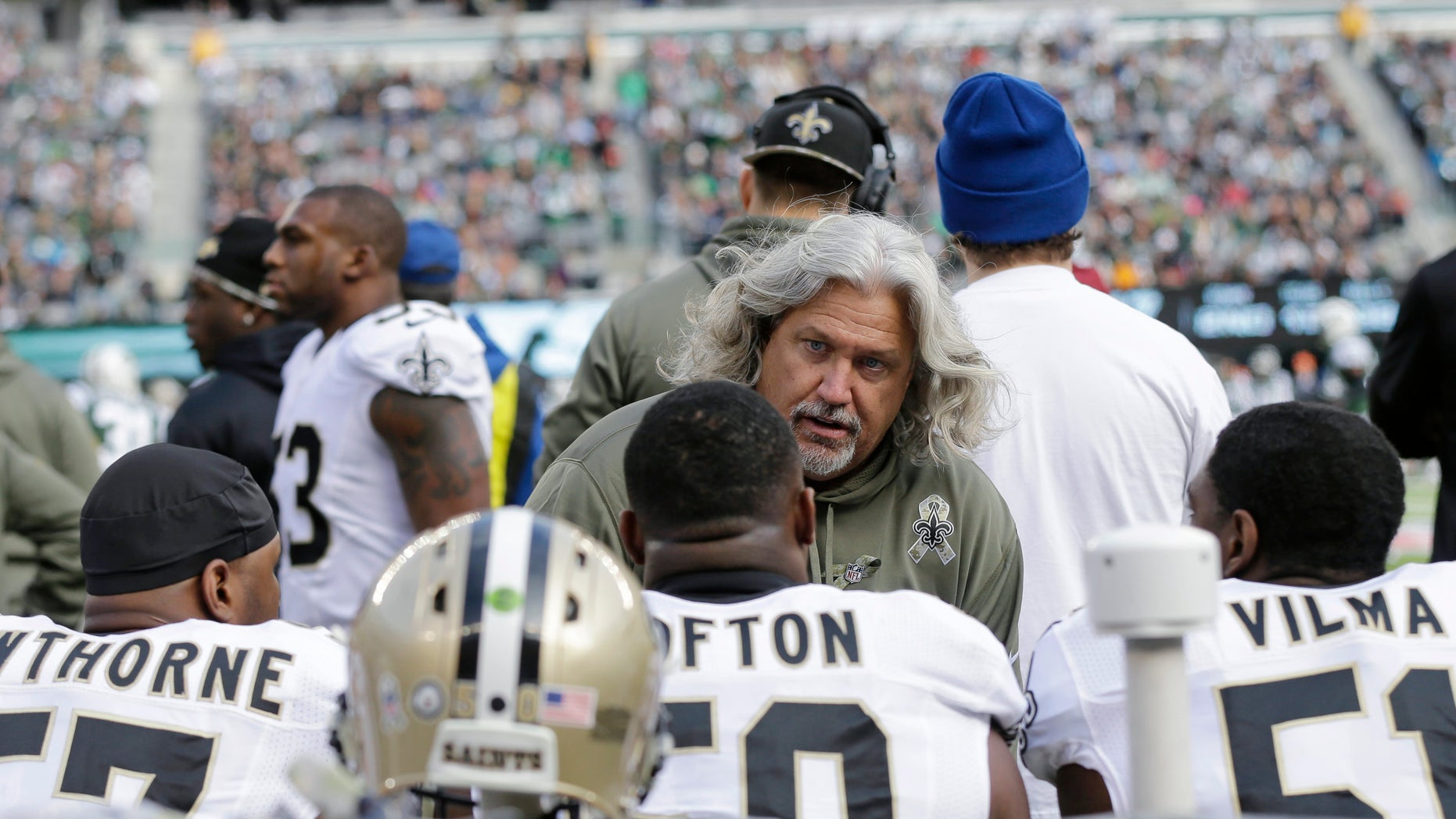 In this Nov. 3, 2013, photo, New Orleans Saints defensive coordinator Rob Ryan talks to his team during the first half of an NFL football game against the New York Jets in East Rutherford, N.J.  In his first season with New Orleans, Ryan has perhaps done his best work yet, keeping a unit beset by key injuries performing well into the divisional round of the playoffs. Now, however, the Saints' defense returns to Seattle, site of its worst performance this season. (AP Photo/Mel Evans)