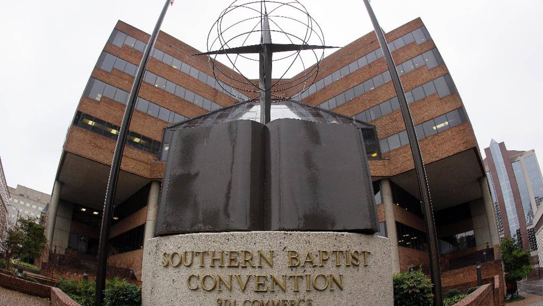 FILE -- This Dec. 7, 2011 file photo shows the headquarters of the Southern Baptist Convention in Nashville, Tenn. The Southern Baptists lost more than 200,000 members in 2015. It's the ninth straight year of decline for the nation's largest Protestant denomination, which also saw baptisms drop by more than 10,000 in 2015. (AP Photo/Mark Humphrey, File)