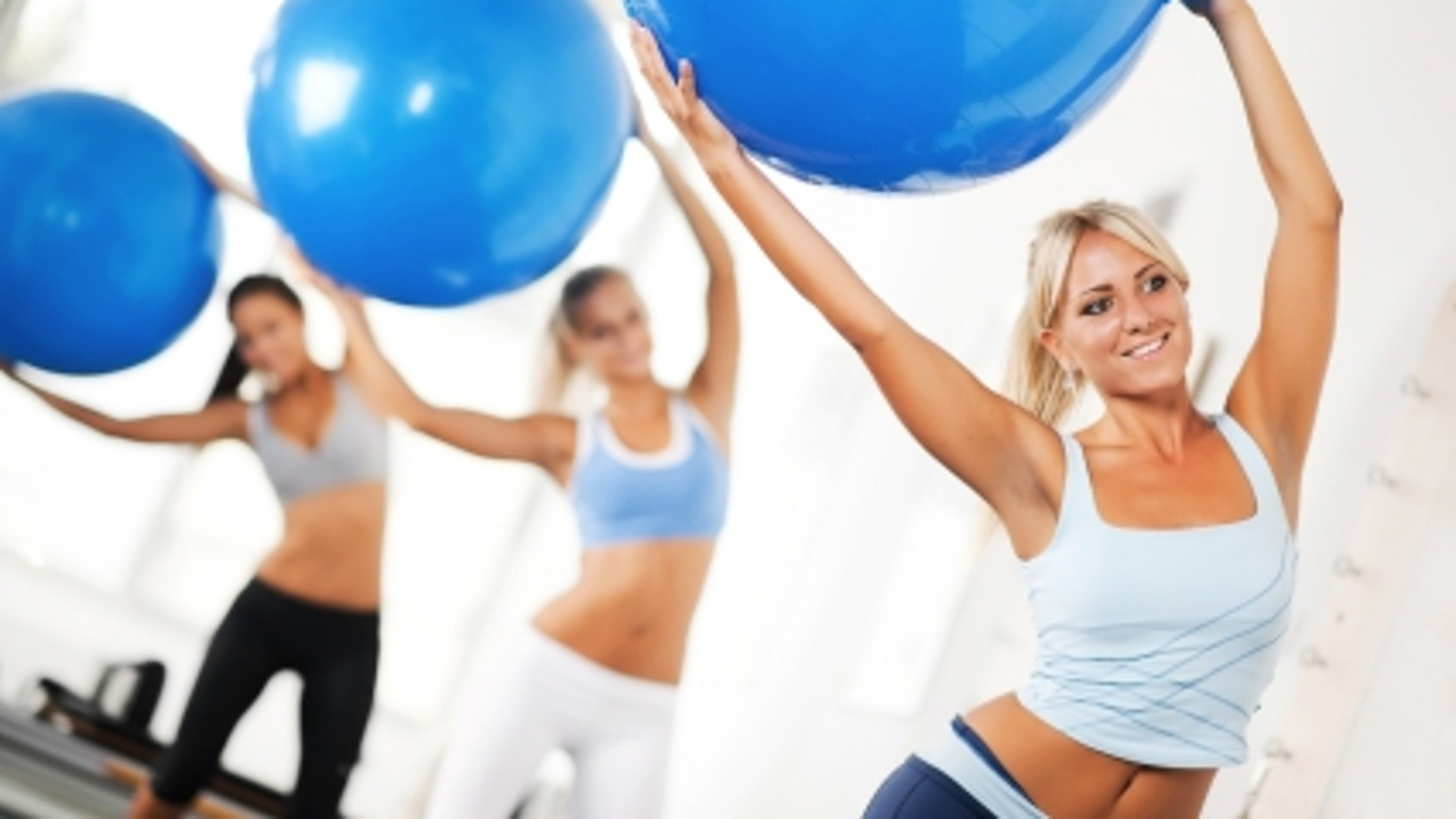 Stability balls are cheap, and you can use them for a variety of exercises that target the arms, stomach and even for yoga.