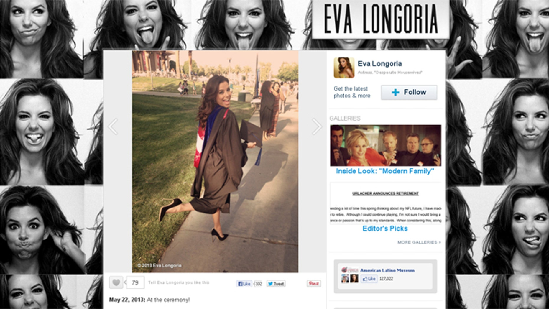 Eva Longoria's WhoSay.com posing after her graduation on Saturday.