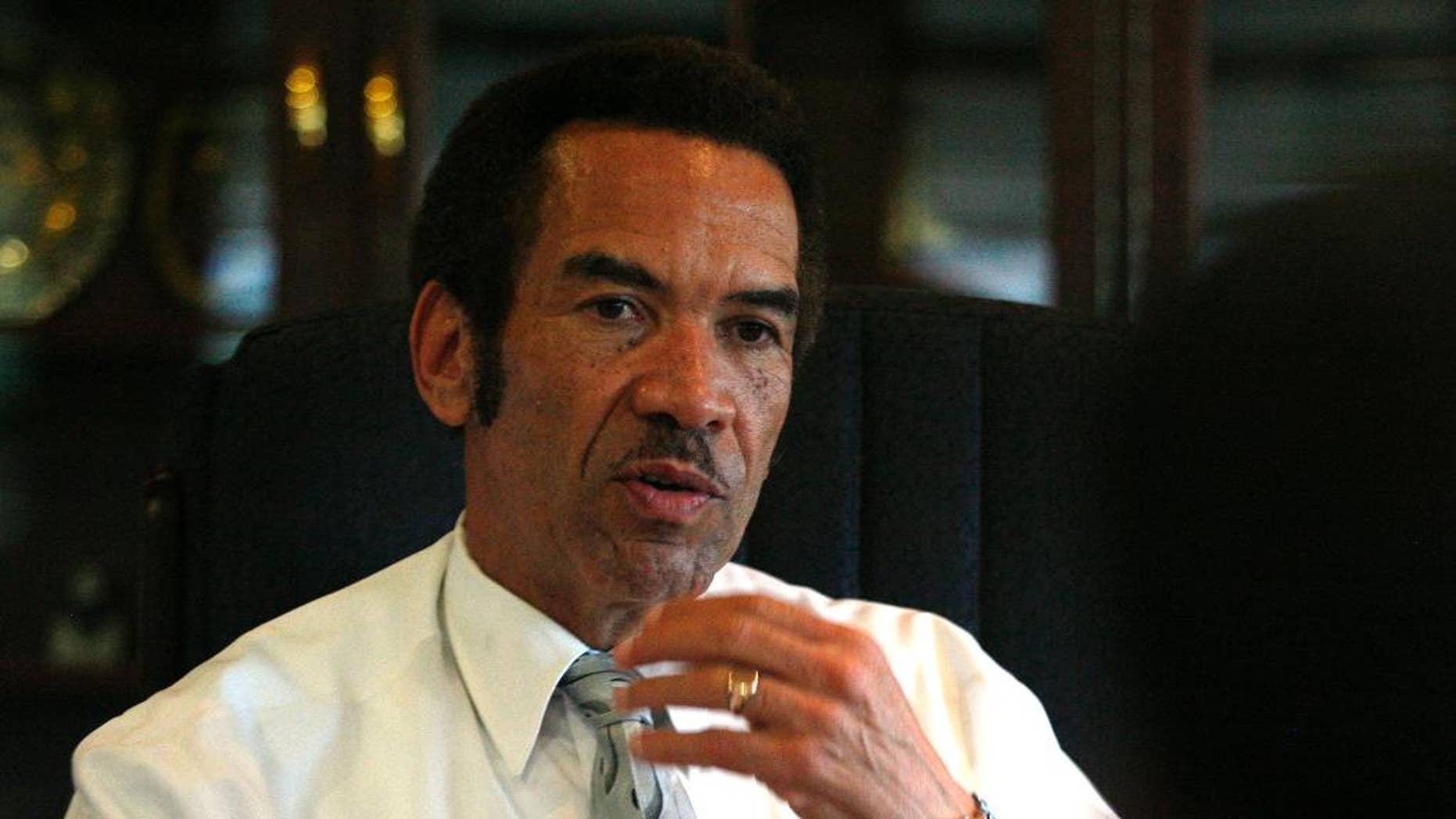 FILE -  In this Friday April. 30, 2010 file photo Botswana President Seretse Ian Khama speaks during an interview with The Associated Press at his office in Gaborone, Botswana. The July 30, 2014, death, in a road accident, of opposition leader Gomolemo Motswaleda, has highlighted brewing tension in Botswana, with the opposition alleging that Motswaledi may have been assassinated by pro-government agents although evidence is lacking. Motswaledi was once an ally of President Ian Khama but fell out with him and formed the Botswana Movement for Democracy in 2010 to challenge what he described as a concentration of power among presidential loyalists.  (AP Photo/Themba Hadebe, File)