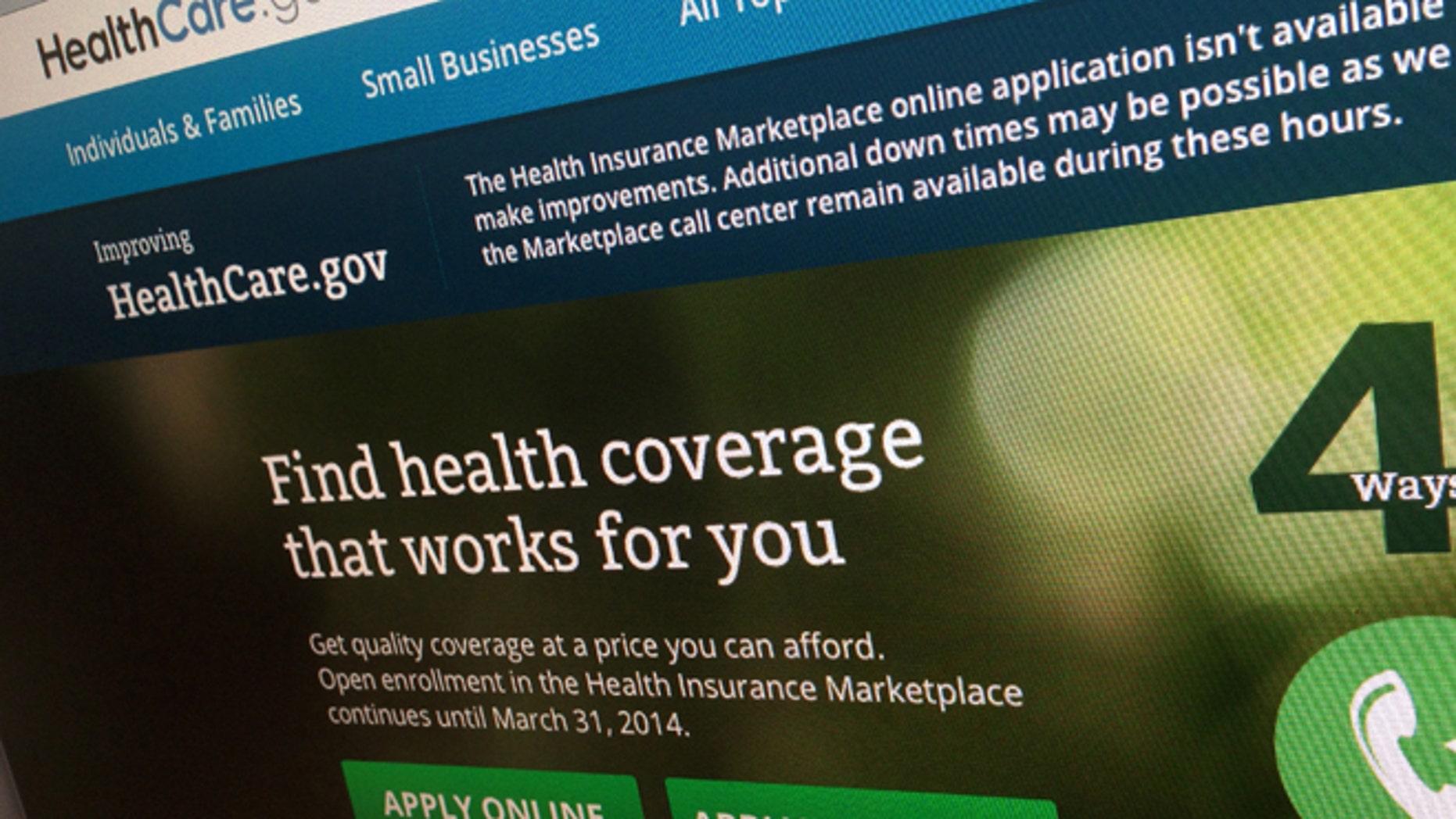 FILE: Nov. 29, 2013: The HealthCare.gov website is photographed in Washington, D.C.