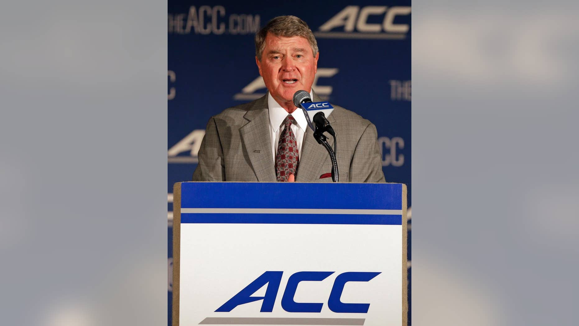 Atlantic Coast Conference commissioner John Swofford speaks during a news conference at the Atlantic Coast Conference Football kickoff in Greensboro, N.C., Sunday, July 20, 2014. (AP Photo/Chuck Burton)