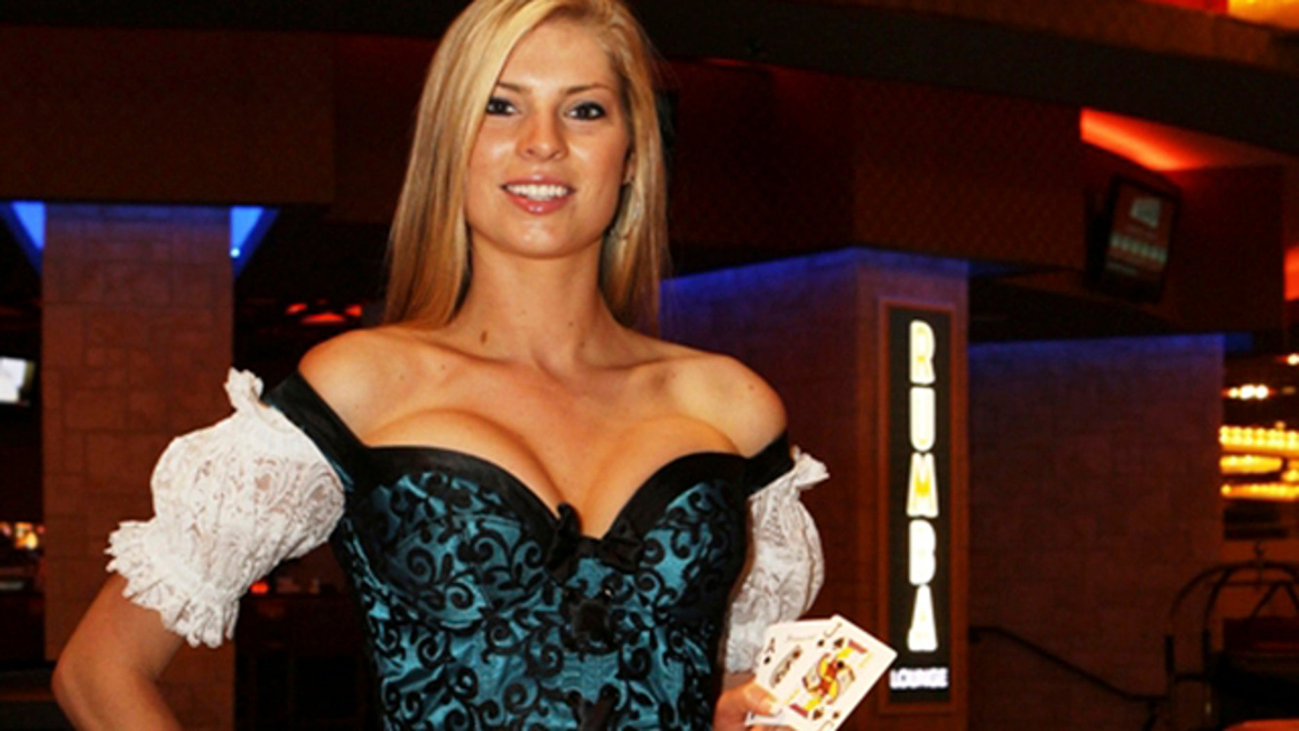 """In this photo released by Tropicana Casino and Resort Atlantic City, Monday, June 6, 2011, a model wears one of the new costumes that some female dealers will wear in a new """"party pit"""" to open at the Tropicana Casino and Resort beginning the weekend of July 4. The new costumes are part of a trend among casinos in the nation's second-largest gambling market to dress employees in sexy costumes as the competition for gambling dollars grows ever fiercer. (AP Photo/Tropicana Casino and Resort Atlantic City)"""