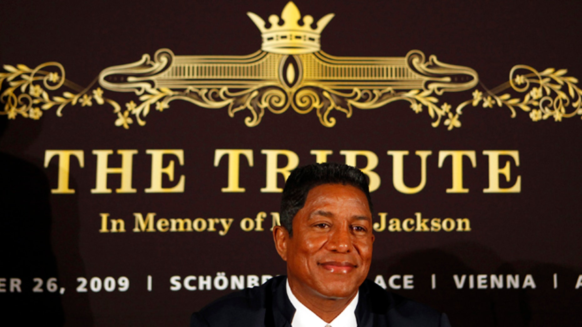 """Sept. 10, 2009: In this file photo, Jermaine Jackson, bother of late U.S. pop star Michael Jackson, smiles prior to a press conference on """"The Tribute - In Memory of Michael Jackson"""" in Berlin."""