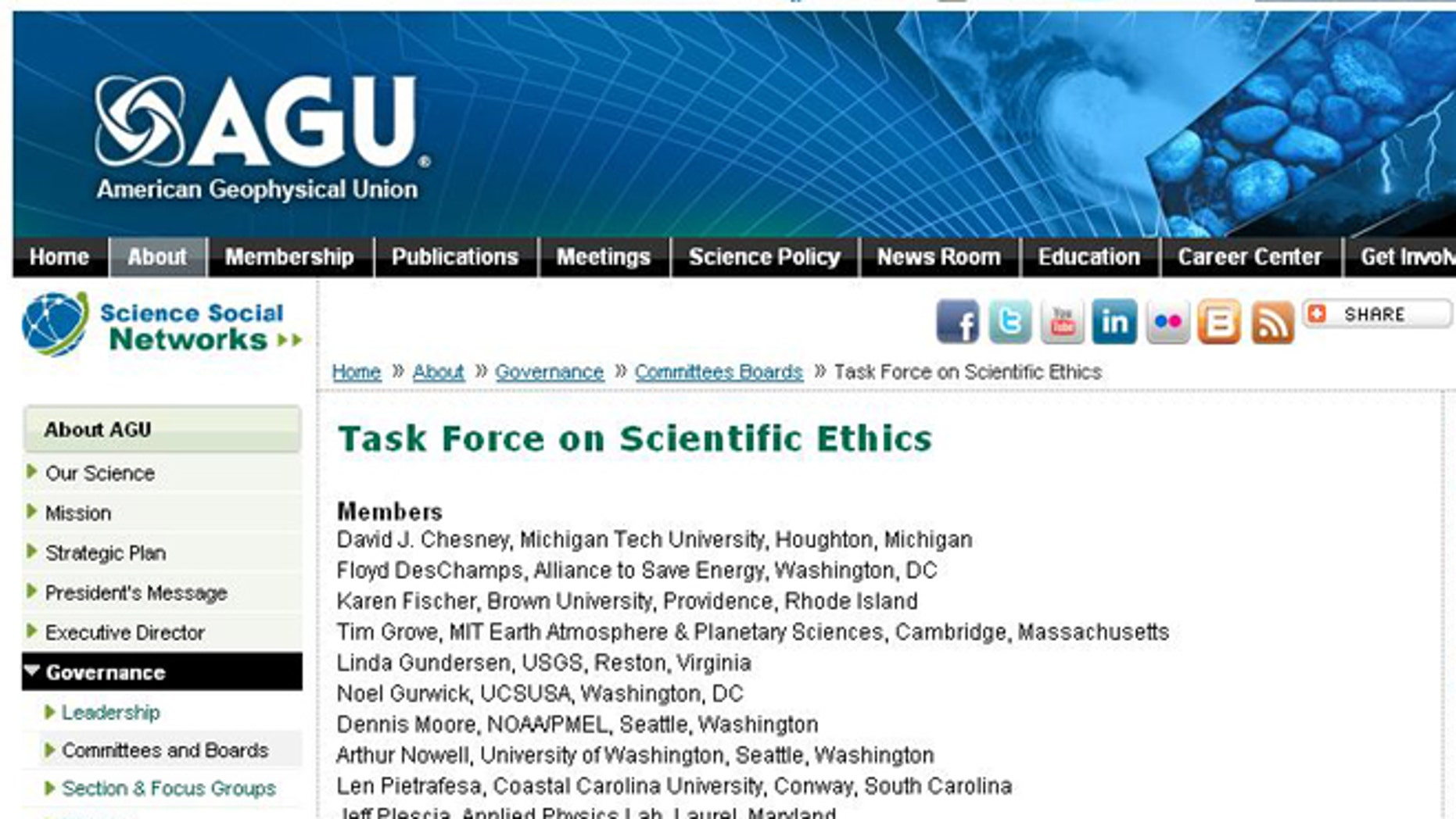 The name of chair Peter H. Gleick was stripped from the masthead of a science group's Task Force on Scientific Ethics following a clear breach of ethics.