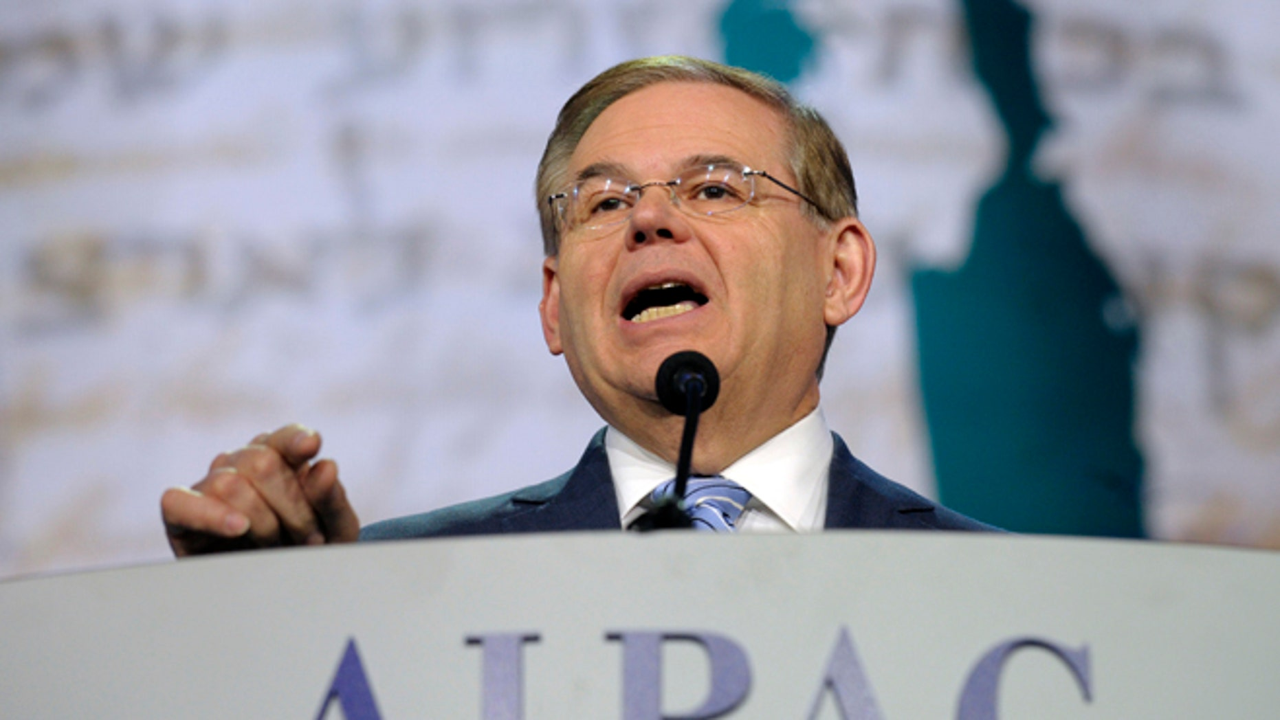 Senate Foreign Relations Committee Chairman Sen. Robert Menendez, D-N.J., addresses the American-Israeli Public Affairs Committee (AIPAC) 2013 Policy Conference at the Walter E. Washington Convention Center in Washington, Tuesday, March 5, 2013. Menendez, who has maintained that he never paid prostitutes for sex, said he is looking forward to whatever evidence emerges from courts in the Dominican Republic to vindicate him.  (AP Photo/Susan Walsh)