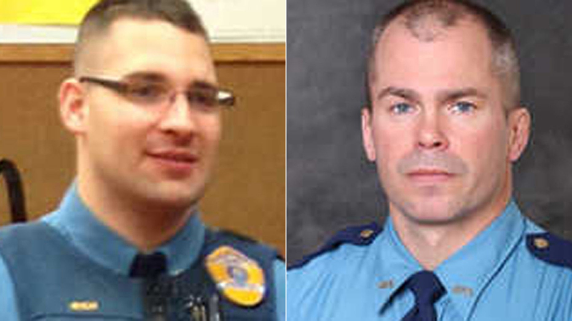From the left, Trooper Gabriel Rich and Sgt. Patrick Johnson were killed in the line of duty on Thursday.