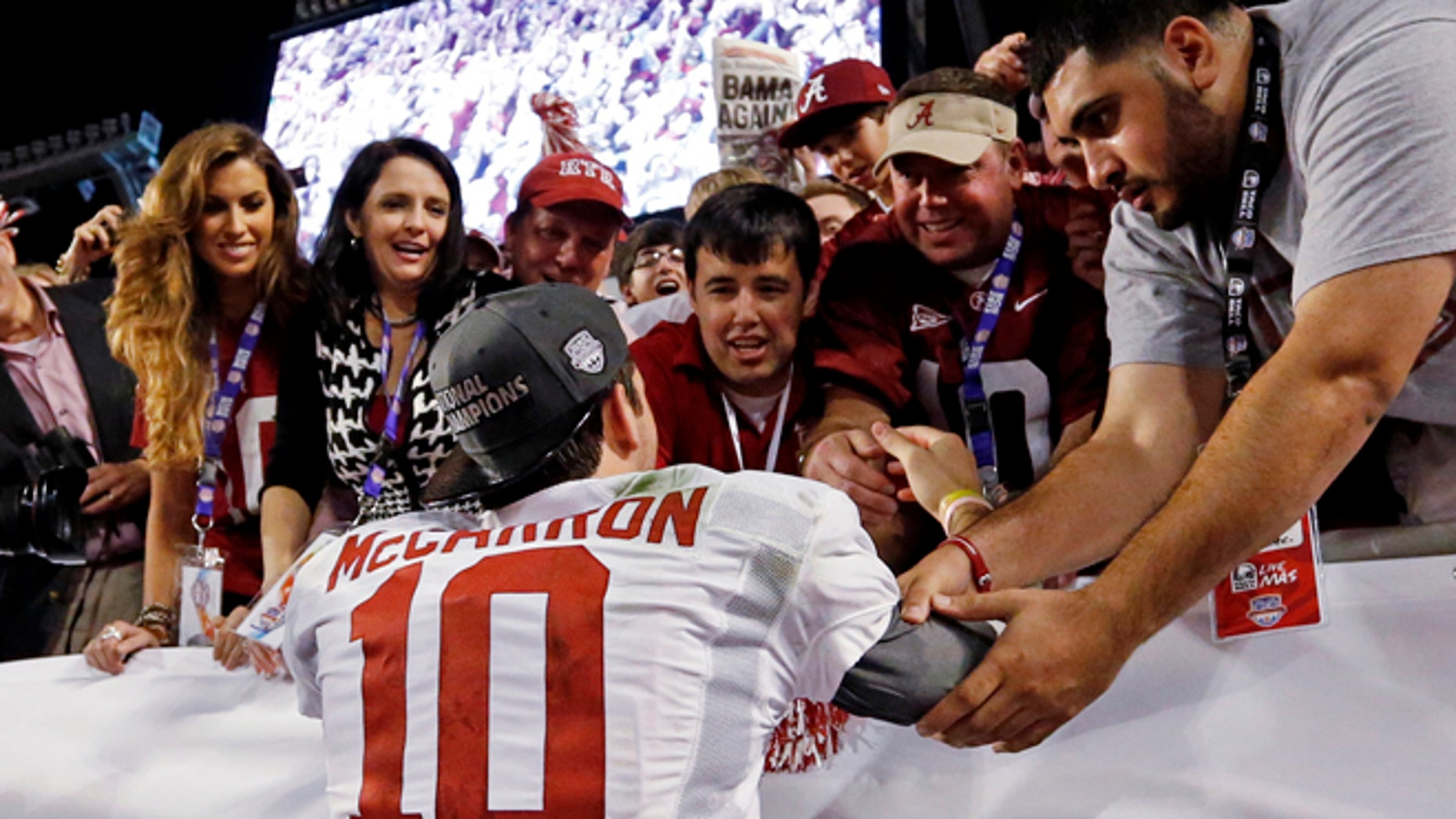 Jan 7: Alabama quarterback AJ McCarron elebrates after winning the BCS National Championship. Alabama is in the SEC.