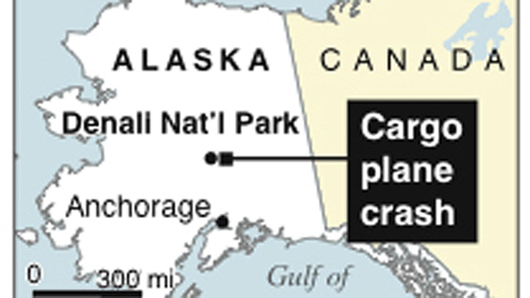 Map locates cargo plane crash near Denali National Park in Alaska