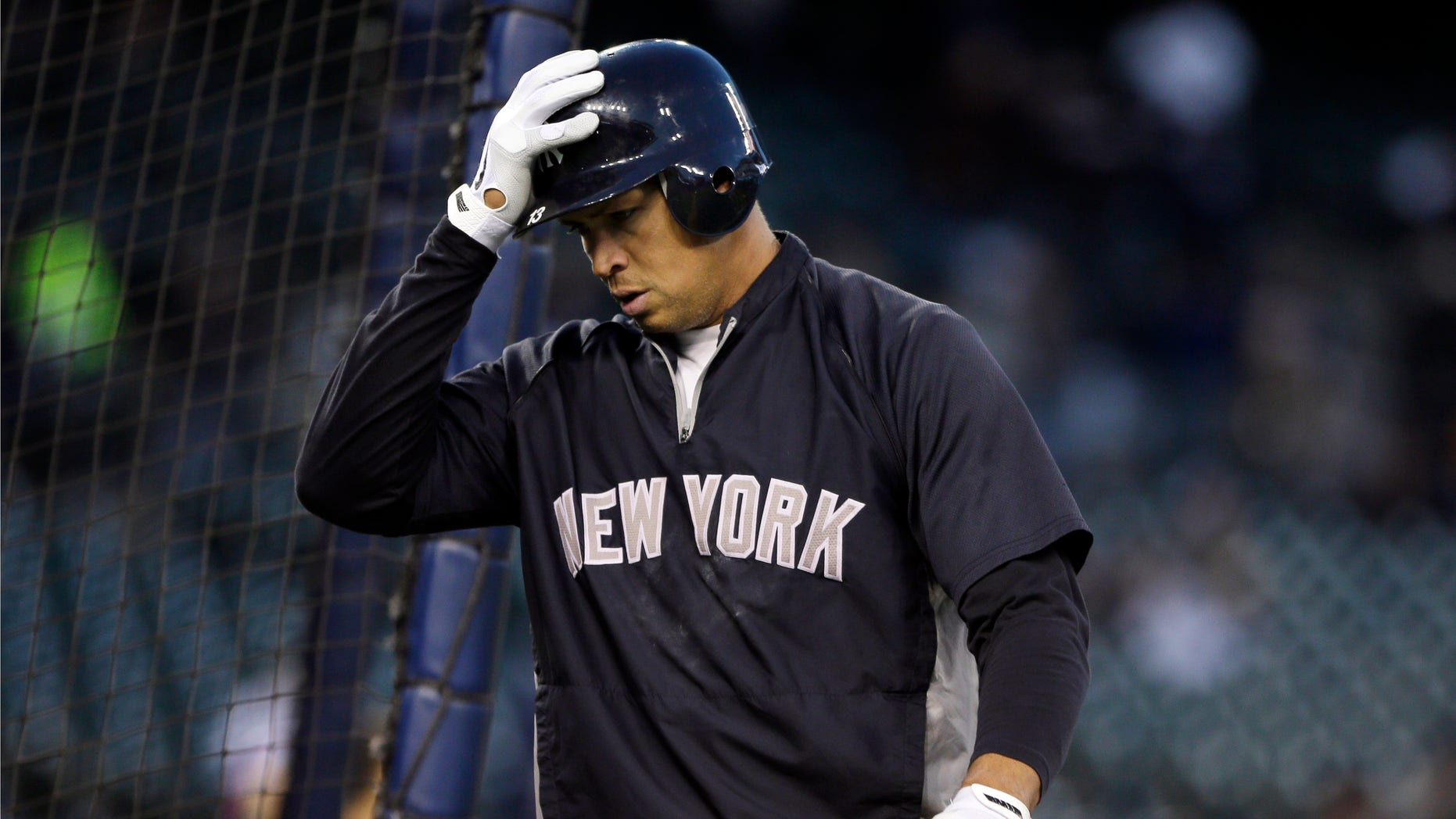 Oct. 16, 2012: New York Yankees' Alex Rodriguez walks out of the batting cage following batting practice before the start of Game 3 of the American League championship series against the Detroit Tigers in Detroit.
