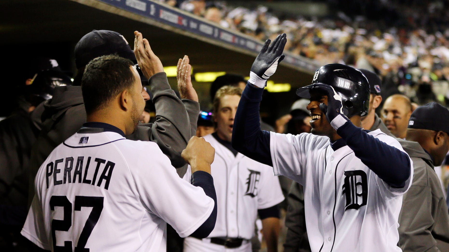 Oct. 18, 2012: Detroit Tigers' Austin Jackson celebrates after hitting a home run against the New York Yankees during Game 4 of the American League championship series in Detroit.