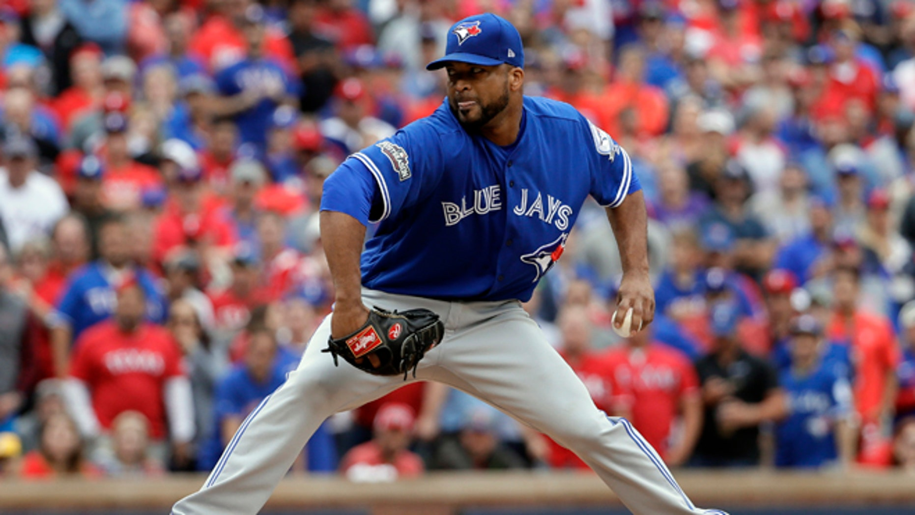 Toronto Blue Jays relief pitcher Francisco Liriano throws against the Texas Rangers in the eighth inning of Game 2 of baseball's American League Division Series, Friday, Oct. 7, 2016, in Arlington, Texas. (AP Photo/David J. Phillip)