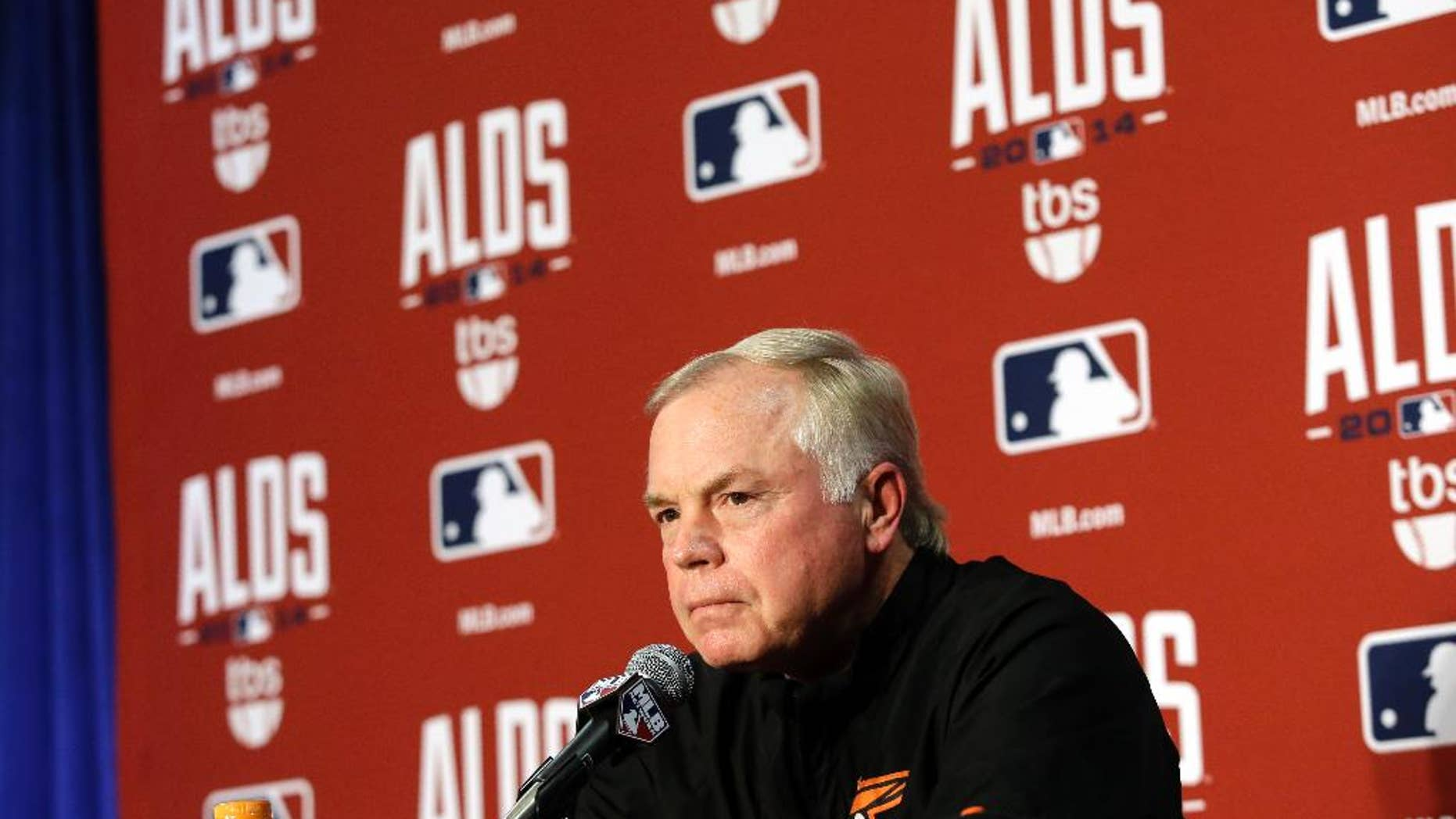Baltimore Orioles manager Buck Showalter speaks at a news conference, Wednesday, Oct. 1, 2014, in Baltimore. The Orioles start the playoffs against the Detroit Tigers in Game 1 of the American League Division Series Thursday. (AP Photo/Patrick Semansky)