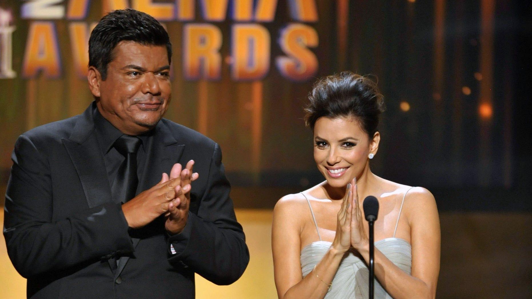 Sept. 16, 2012: Hosts George Lopez and Eva Longoria speak onstage at the ALMA Awards in Pasadena, Calif.