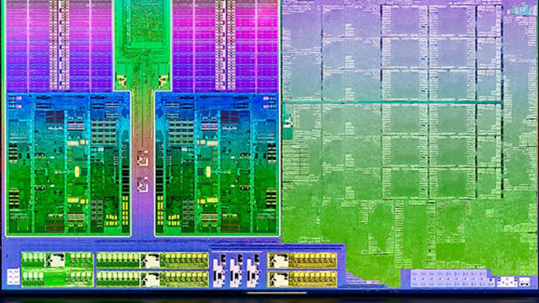 """May 14, 2012: A portion of the """"die shot,"""" or close up photograph, reveals some of the parts making up the new Trinity processor from AMD."""