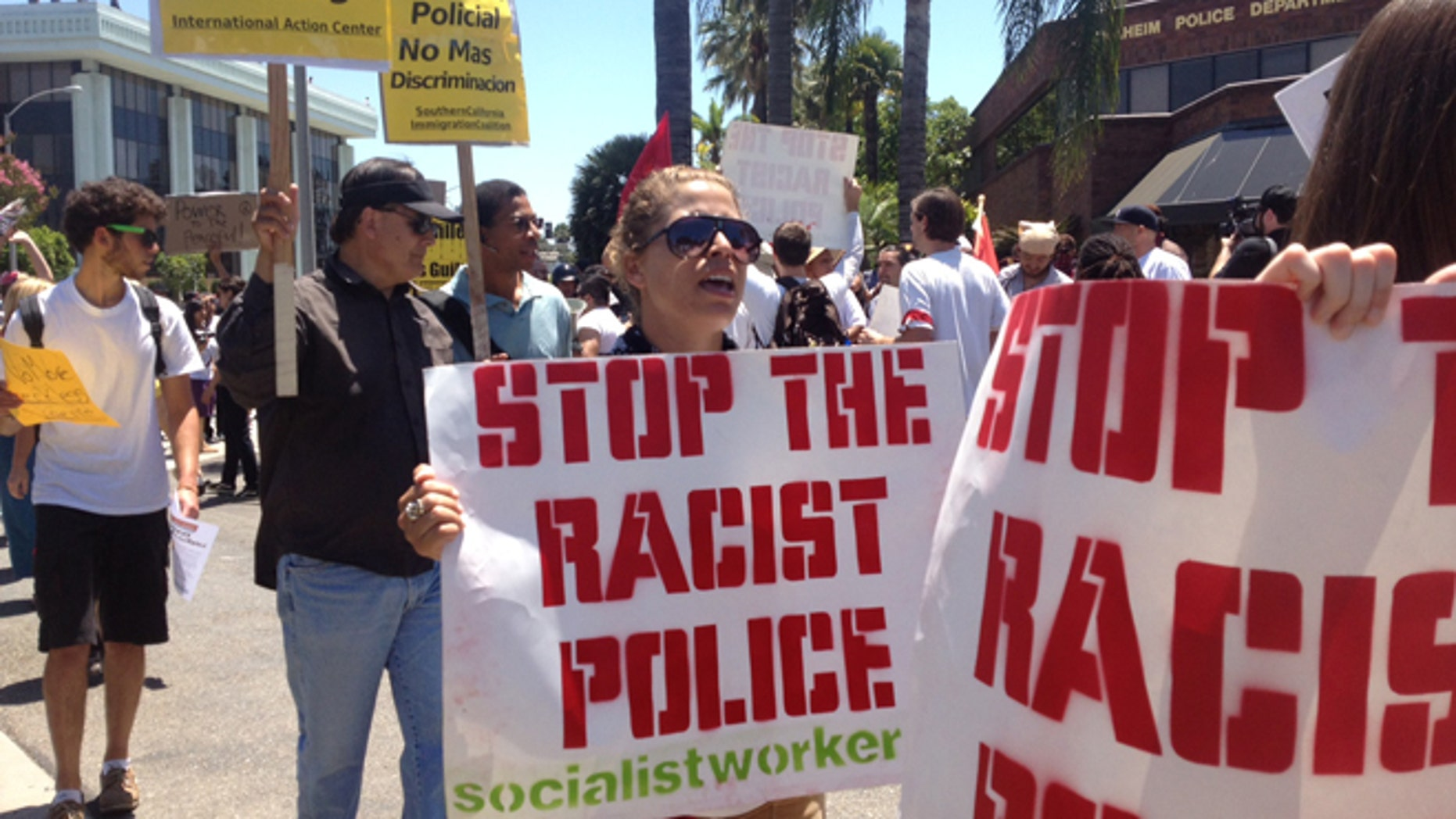 Demonstrators rallied to denounce two fatal police shootings and issue a call for community peace on July 29, 2013.