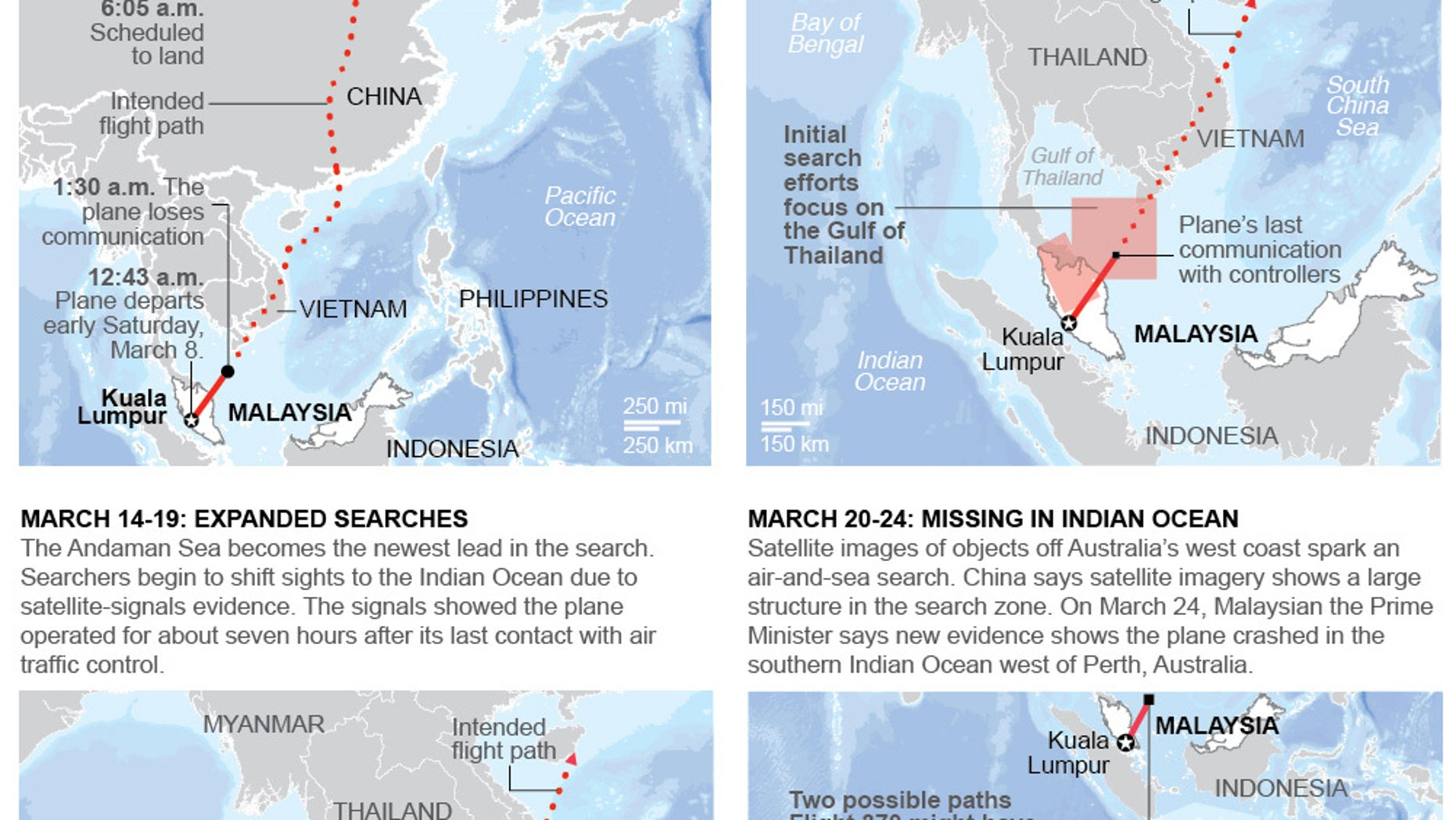 Graphic summarizes the events and search efforts of Malaysian flight MH 370; 4c x 7 inches; 195.7 mm x 177 mm;