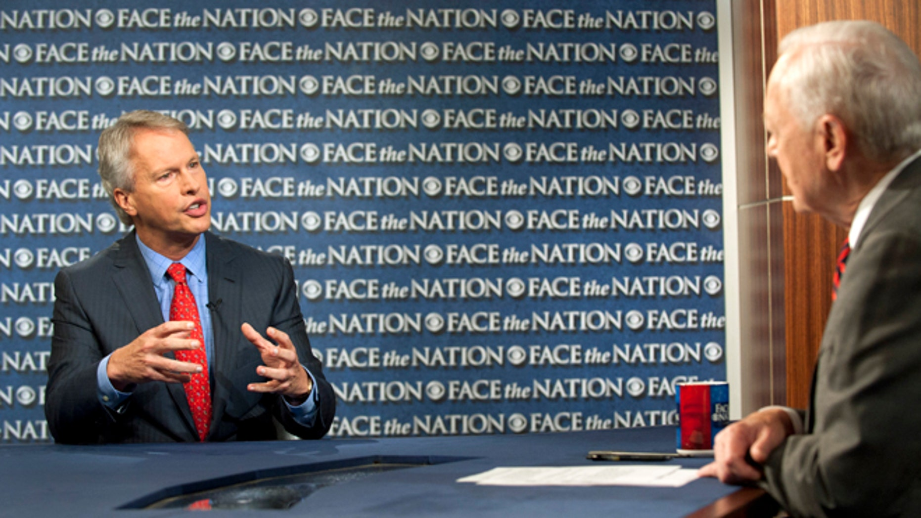 """May 19, 2013: Gary Pruitt, the President and CEO of the Associated Press, discusses the leak investigation that led to his reporters' phone records being subpoenaed by the Justice Department on CBS's """"Face the Nation"""" in Washington. Pruitt says DoJ's seizure of AP journalists' phone records was """"unconstitutional"""", and that the secret subpoena of reporters' phone records has made sources less willing to talk to AP journalists."""