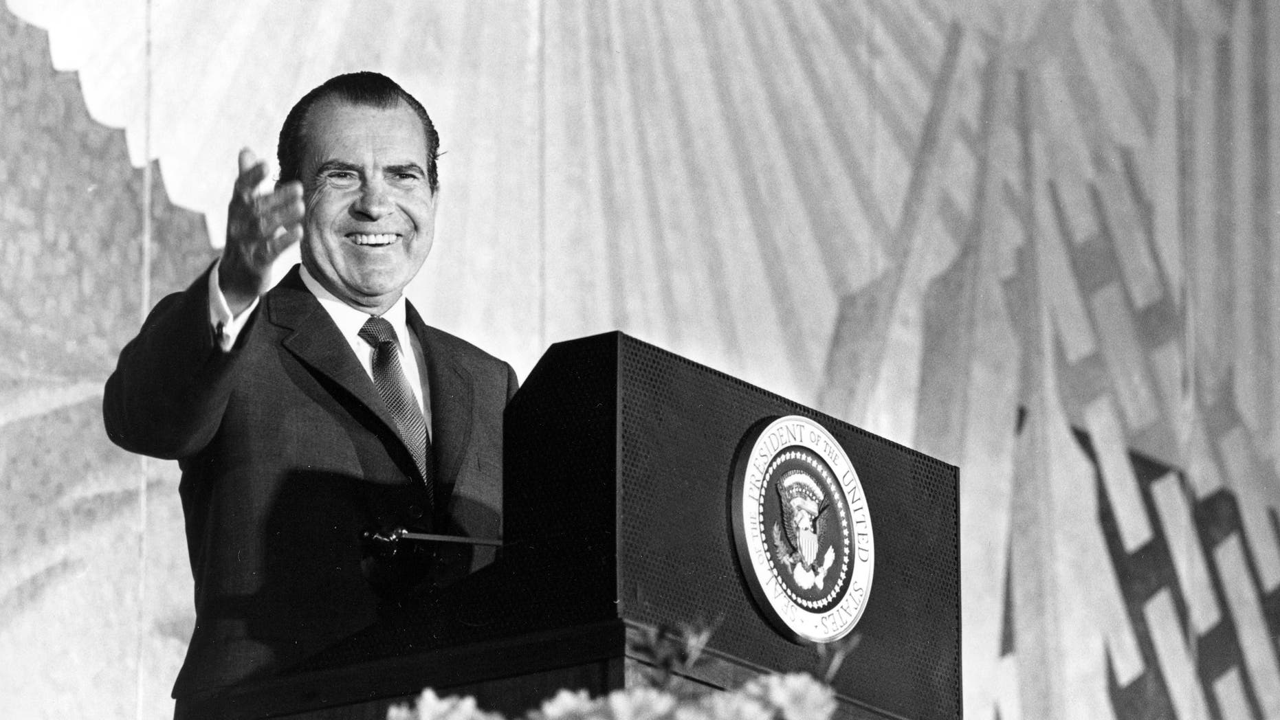 """President Nixon appears in Washington, April 29, 1969, before the general session of the annual meeting of the U.S. Chamber of Commerce.  Speaking on campus unrest, Nixon said dissent is welcome provided it is peaceful.  """"There can be no compromise with lawlessness and no surrender to force if free education is to survive in the United States of America,"""" he added.  (AP Photo)"""