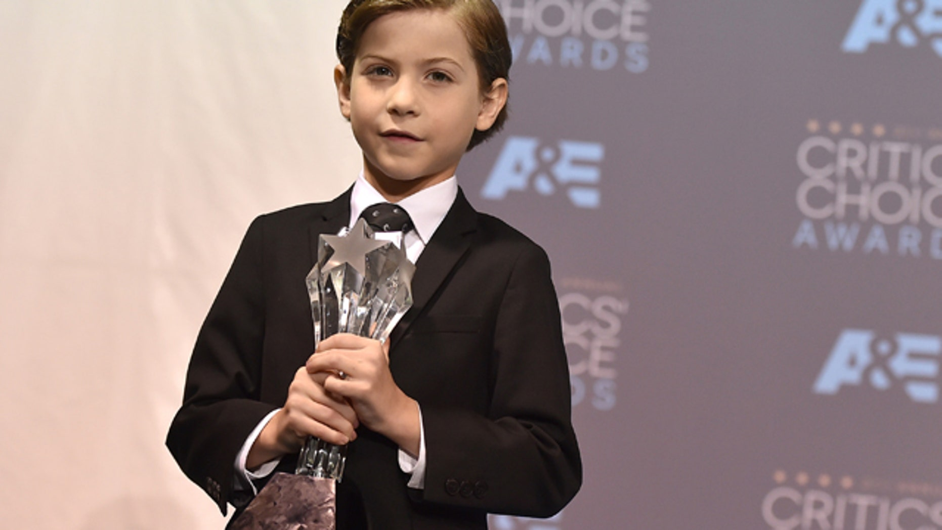 Jan. 17, 2016: Jacob Tremblay poses in the press room with the award for best young actor/actress for 'Room' at the 21st annual Critics' Choice Awards at the Barker Hangar in Santa Monica, Calif. (Photo by Jordan Strauss/Invision/AP)