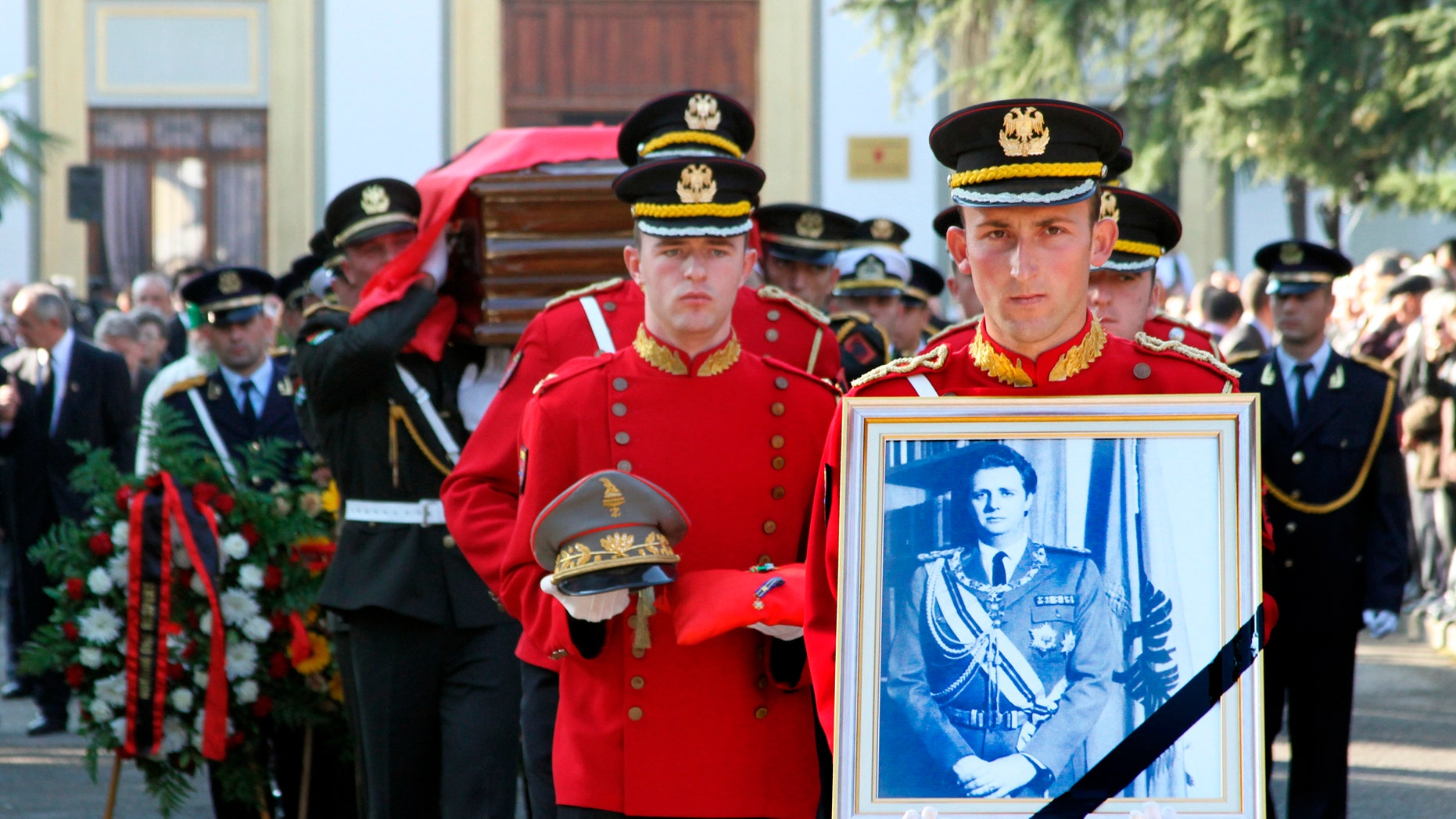 Dec. 3, 2011: The funeral procession for the self-styled king of Albania, Leka Zogu is seen in Tirana.