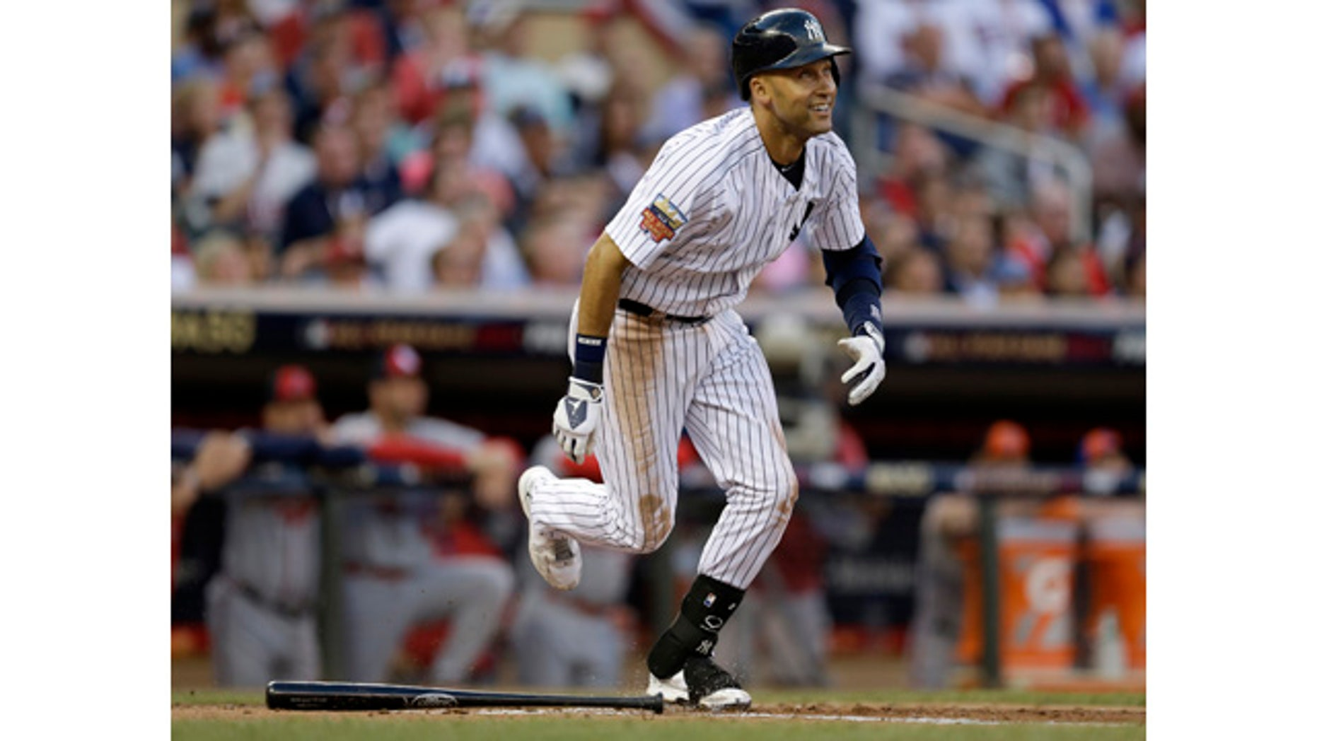 July 15, 2014: American League shortstop Derek Jeter of the New York Yankees singles during the third inning of the All-Star Game in Minneapolis. (AP Photo/Jeff Roberson)