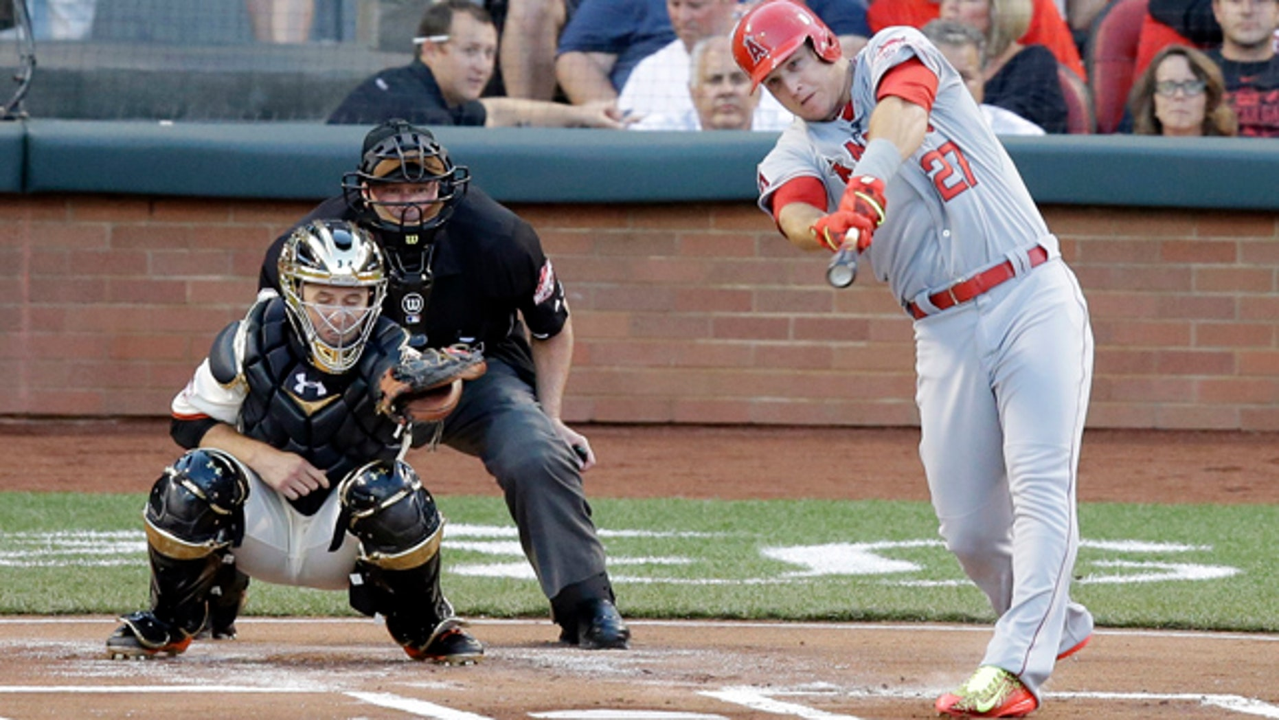July 14, 2015: Mike Trout of the Los Angeles Angels hits a home run during the first inning of the MLB All-Star baseball game in Cincinnati. (AP Photo/Michael E. Keating )