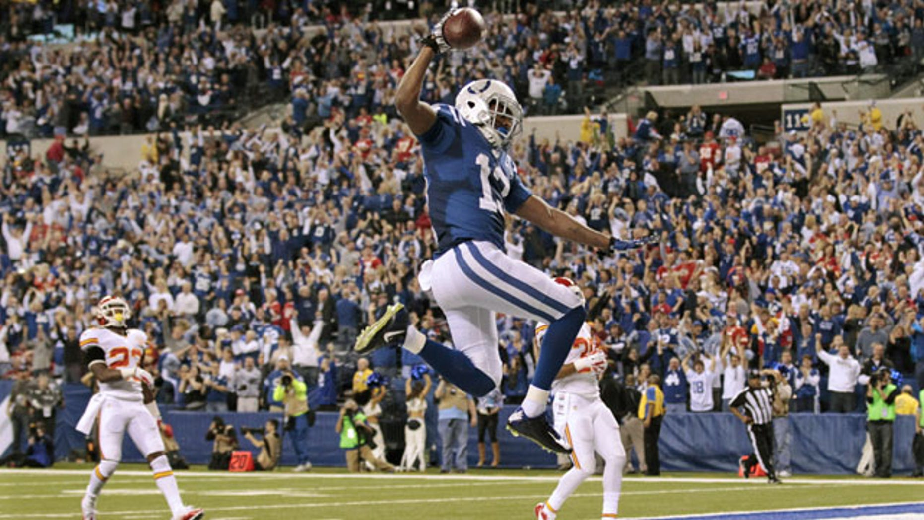 January 4, 2014: Indianapolis Colts wide receiver T.Y. Hilton (13) makes a touchdown to move ahead of Kansas City Chiefs 45-44 during the second half of an NFL wild-card playoff football game  in Indianapolis. (AP Photo/AJ Mast)