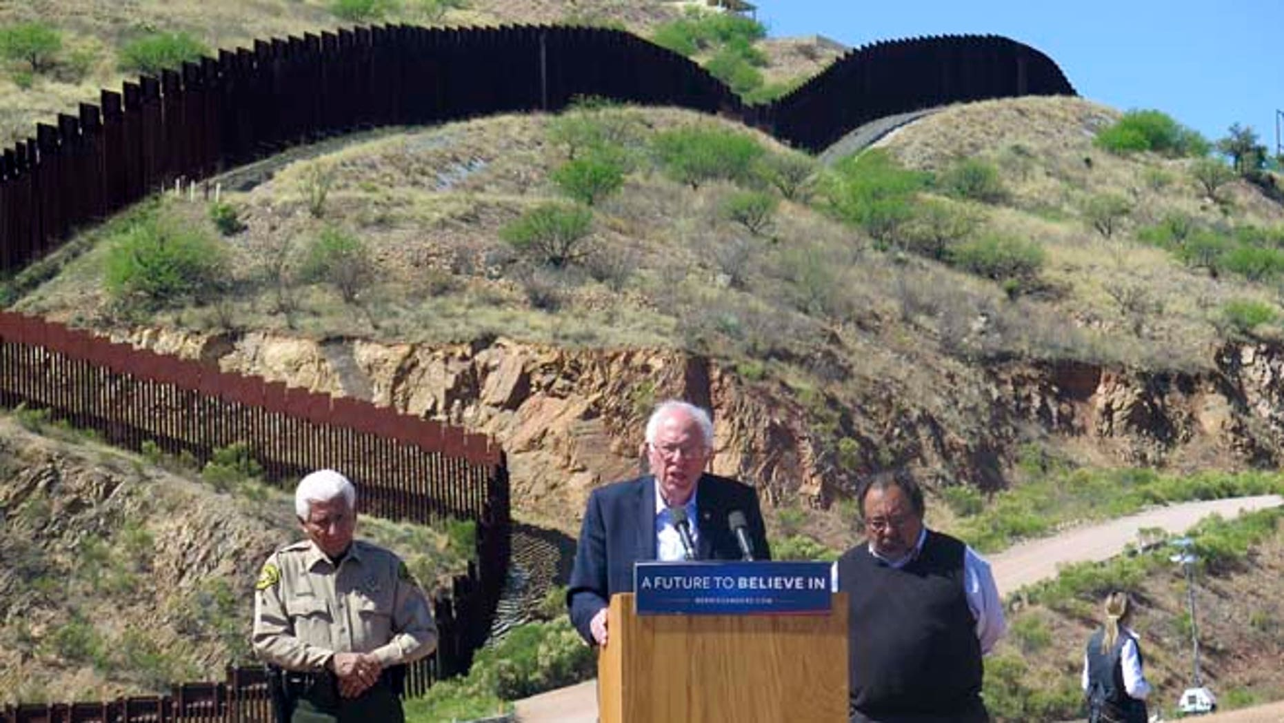 Bernie Sanders near the U.S.-Mexico international border in Nogales, Ariz., Saturday, March 19, 2016.