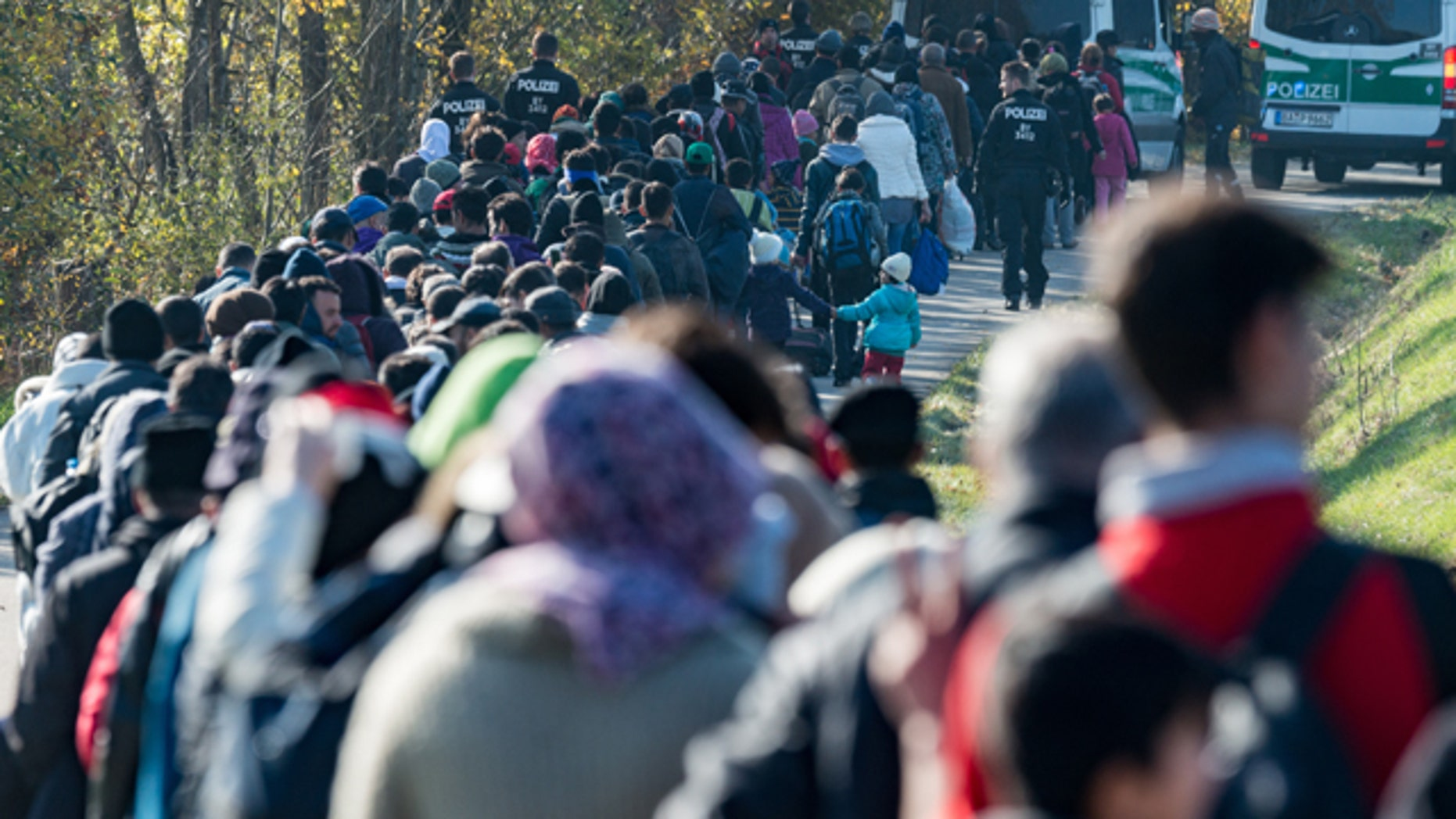 Oct. 27, 2015: Refugees are led by German Federal Police to an emergency accommodation center after crossing the Austrian-German border near Wegscheid, Germany. (Armin Weigel/dpa via AP)
