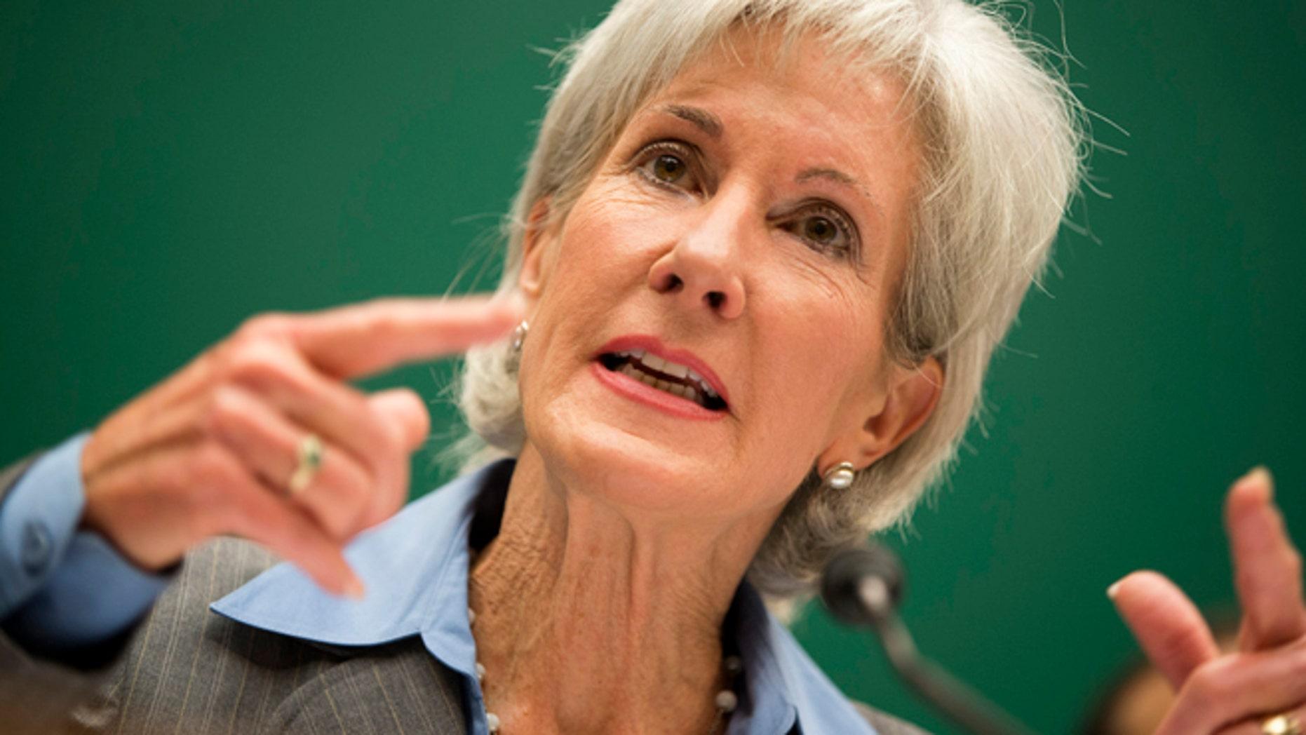 Health and Human Services Secretary Kathleen Sebelius testifies on Capitol Hill in Washington, Wednesday, Oct. 30, 2013.