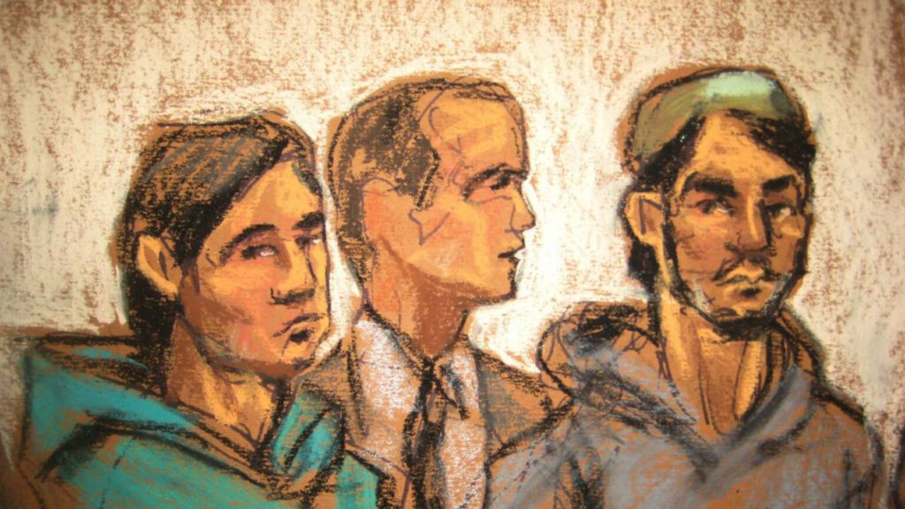 In this courtroom drawing, defendant Akhror Saidakmetov, left; an interpreter, center; and defendant Abdurasul Hasanovich Juraboev, appear at federal court in New York on terrorism charges, Wednesday, Feb. 25, 2015. Saidakmetov and Juraboev are two of the three men arrested on charges of plotting to travel to Syria to join the Islamic State group and wage war against the U.S. (AP Photo/Jane Rosenberg)