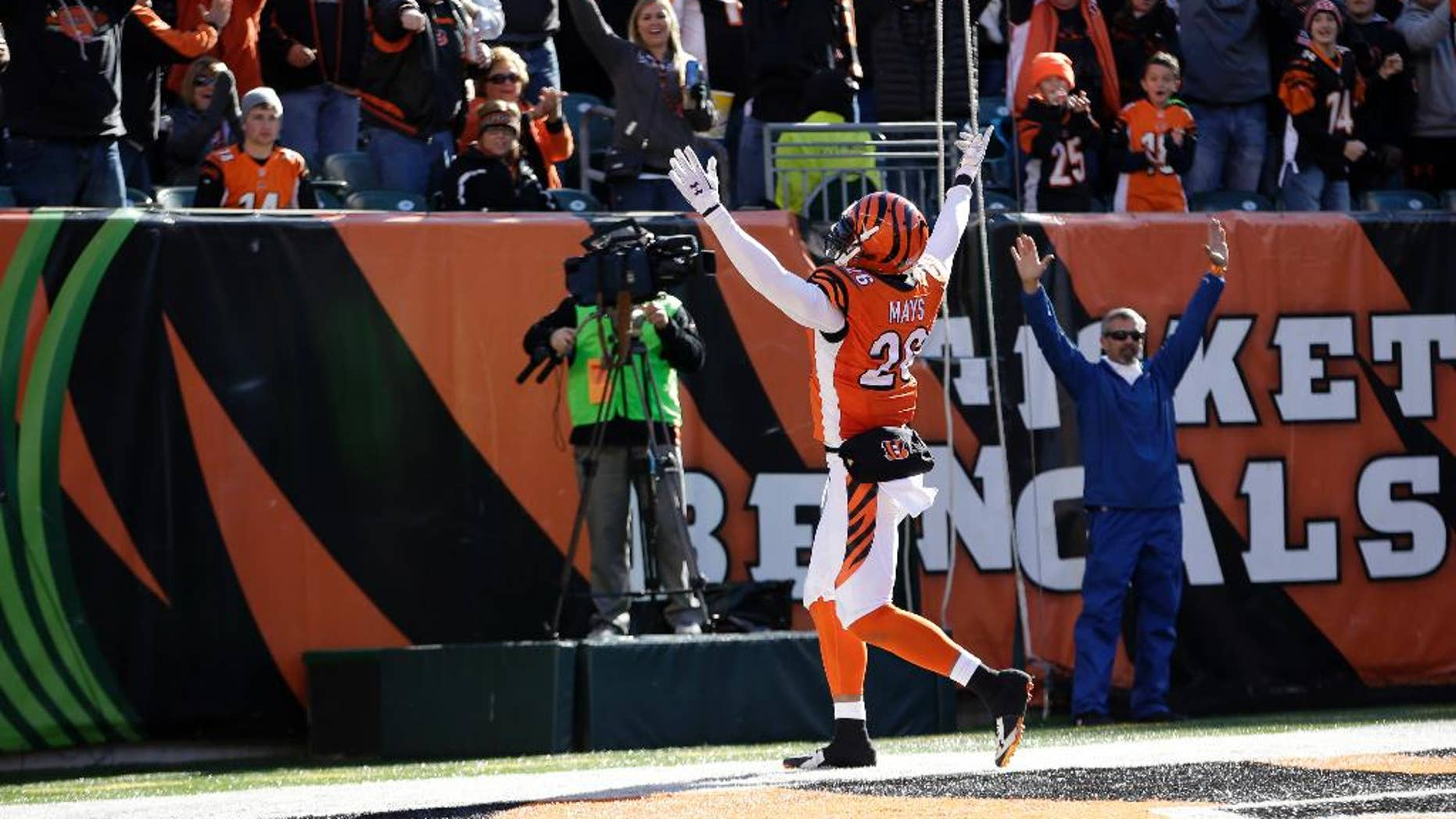 Cincinnati Bengals free safety Taylor Mays celebrates a safety after he blocked a punt during the first half of an NFL football game against the Jacksonville Jaguars  in Cincinnati, Sunday, Nov. 2, 2014. (AP Photo/AJ Mast)