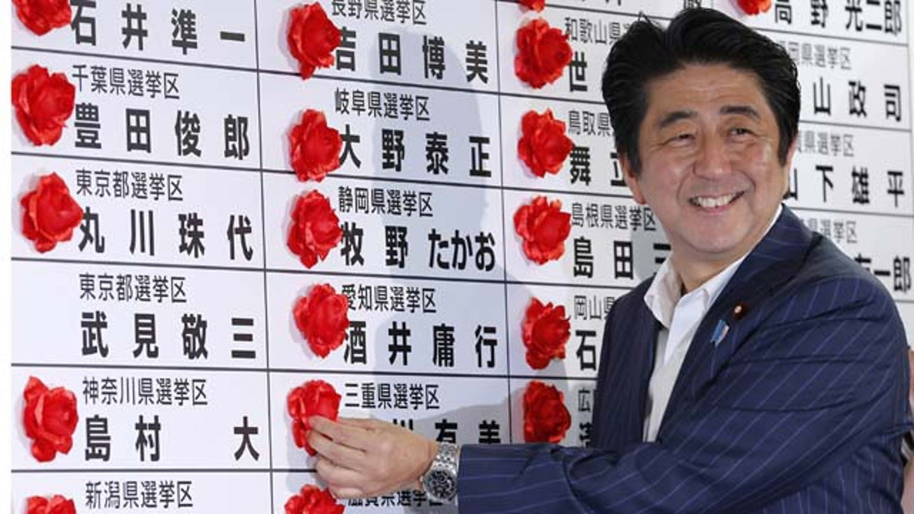 July 21, 2013: Japanese Prime Minister Shinzo Abe smiles as he places a red rosette on the name of his Liberal Democratic Party's winning candidate during ballot counting for the upper house elections at the party headquarters in Tokyo (AP Photo)