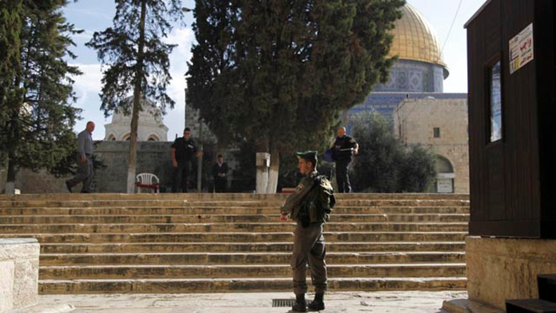 Oct. 8, 2015: Israeli police stand guard at the entrance to the Al-Aqsa compound in Jerusalem's Old City. (AP Photo/Mahmoud Illean)