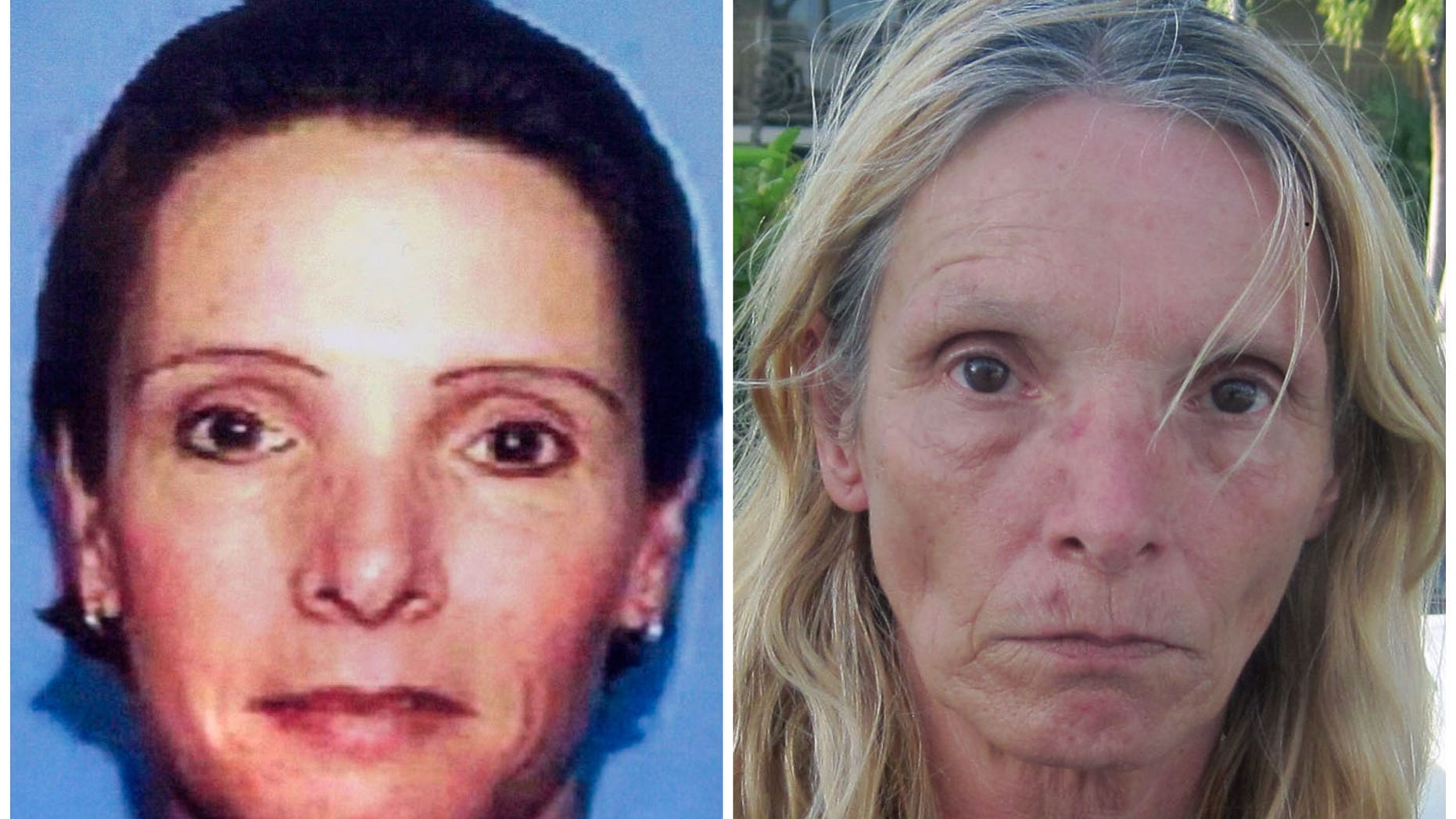 April 26, 2013: This combination of Associated Press file photos shows, left, an undated driver's license photo distributed by police in 2002 of Brenda Heist, and right, an April 26, 2013 photo of Heist taken by the Monroe County, Fla. Sheriff's Office and released by the Lititz Borough, Pa. Police.