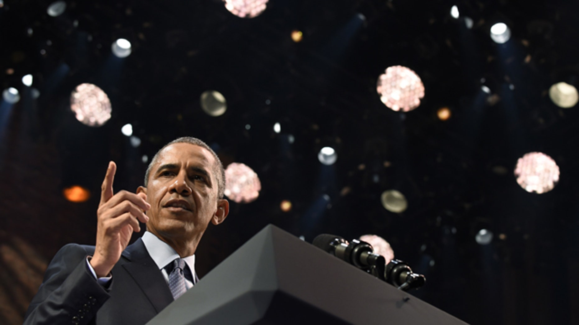 President Barack Obama speaks at the Richard Rodgers Theatre in New York, Monday, Nov. 2, 2015, at a Democratic National Committee fundraiser. (AP Photo/Susan Walsh)