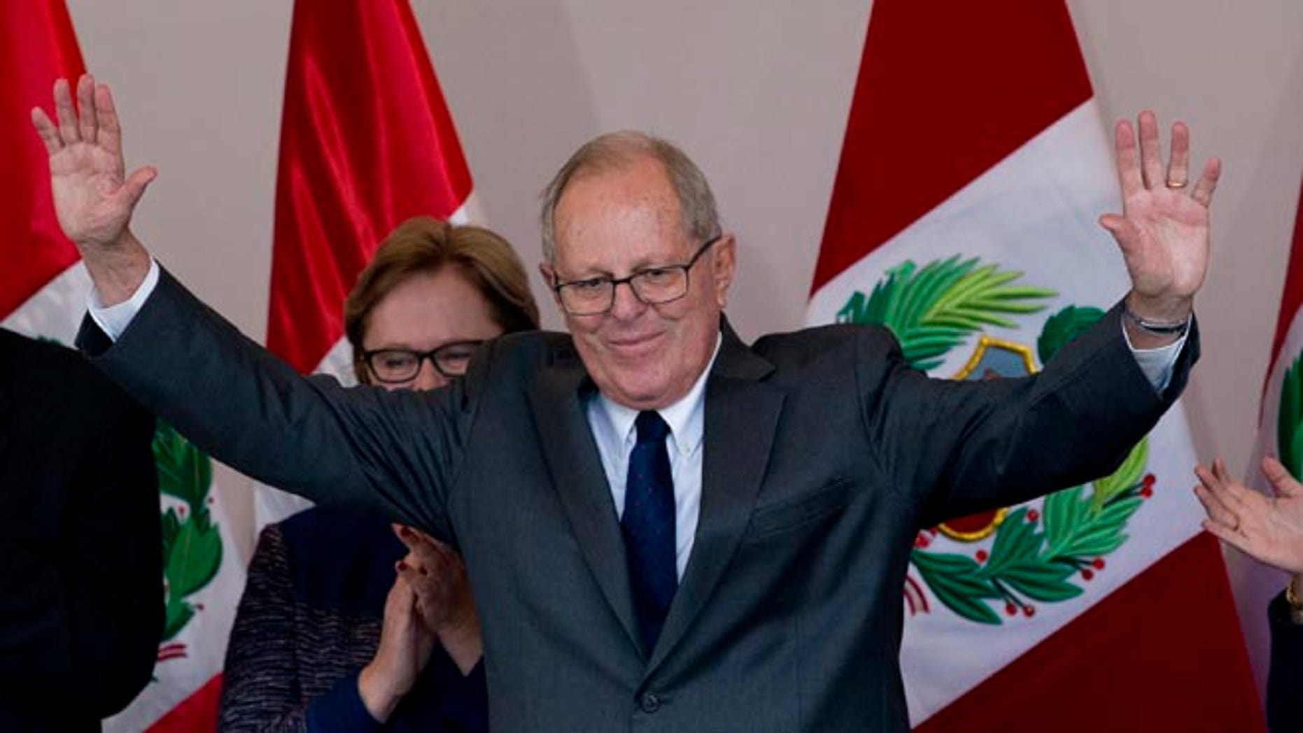 Pedro Pablo Kuczynski acknowledges the crowd at the end of a news conference in Lima, Peru, June 9, 2016.