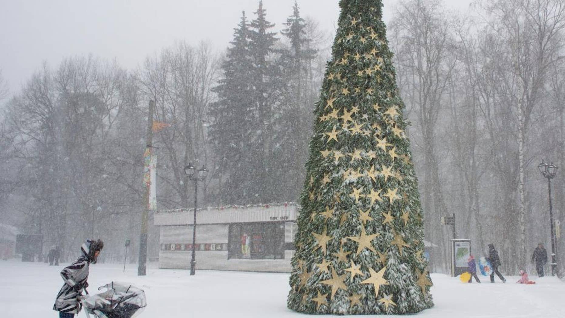 A woman walks with her child through heavy snowfall at a park in Moscow, Russia, Thursday, Dec. 25, 2014. (AP Photo/Ivan Sekretarev)