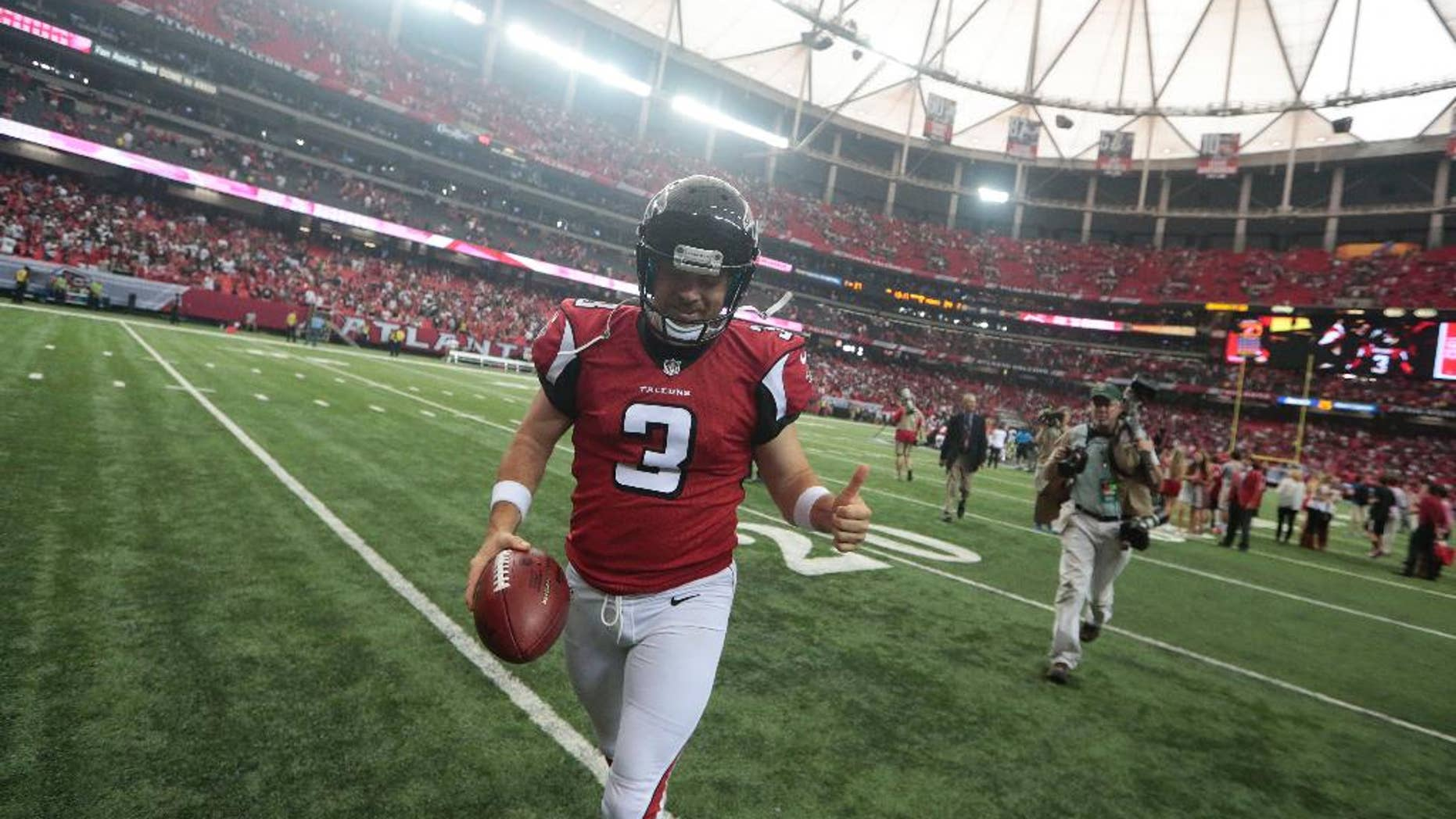 Atlanta Falcons kicker Matt Bryant (3) walks off the field after kicking the game-winning field goal against the New Orleans Saints during overtime of an NFL football game, Sunday, Sept. 7, 2014, in Atlanta. The Atlanta Falcons won in overtime 37-34. (AP Photo/John Bazemore)
