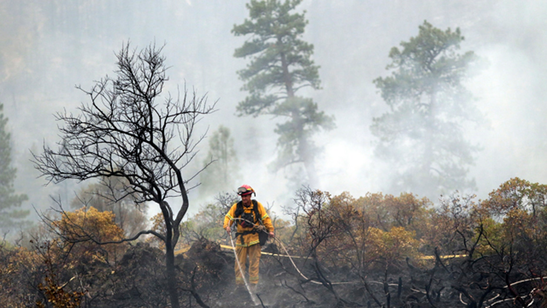 August 4, 2014: A firefighter with the Anderson, Calif., Fire Protection District douses hot spots left behind by the Eiler Fire along Highway 89 near Burney, Calif. (AP Photo/Marcio Jose Sanchez)