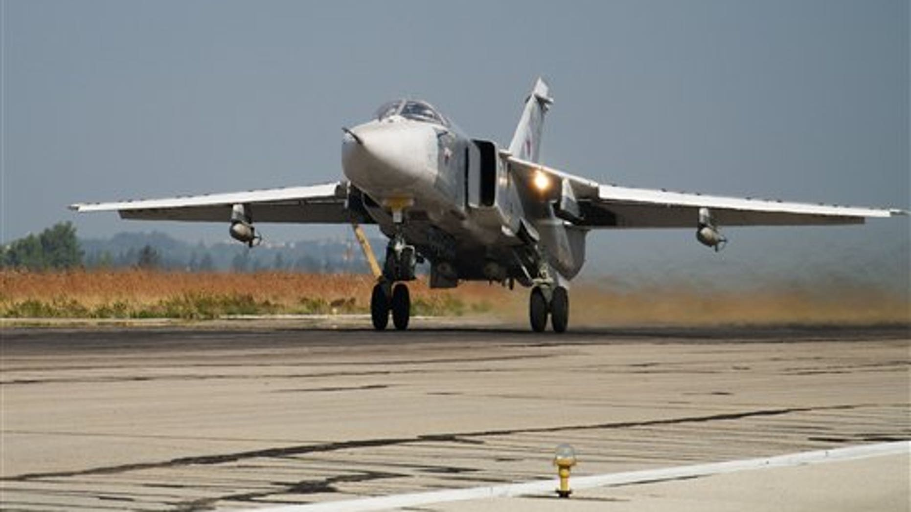 A Russian war plane takes off on a combat mission Thursday. (AP Photo/Vladimir Isachenkov)