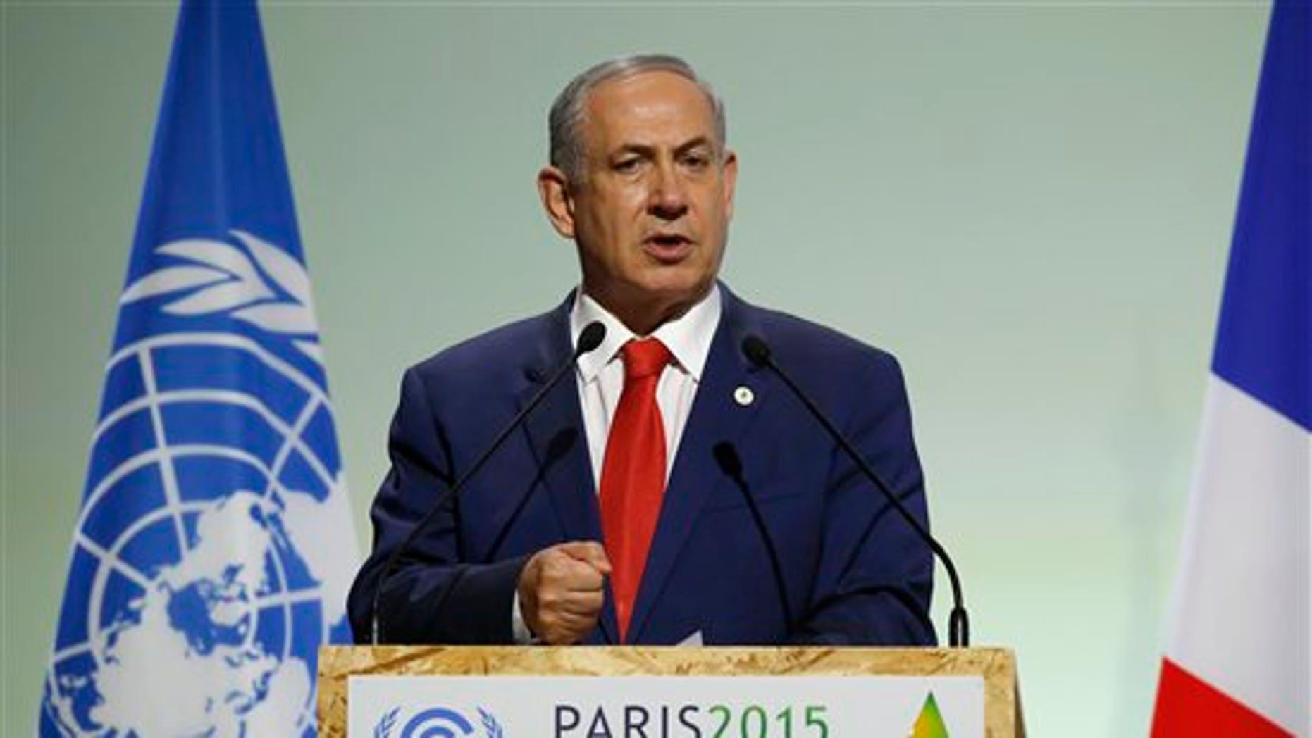 Israel Prime Minister Benjamin Netanyahu in November.