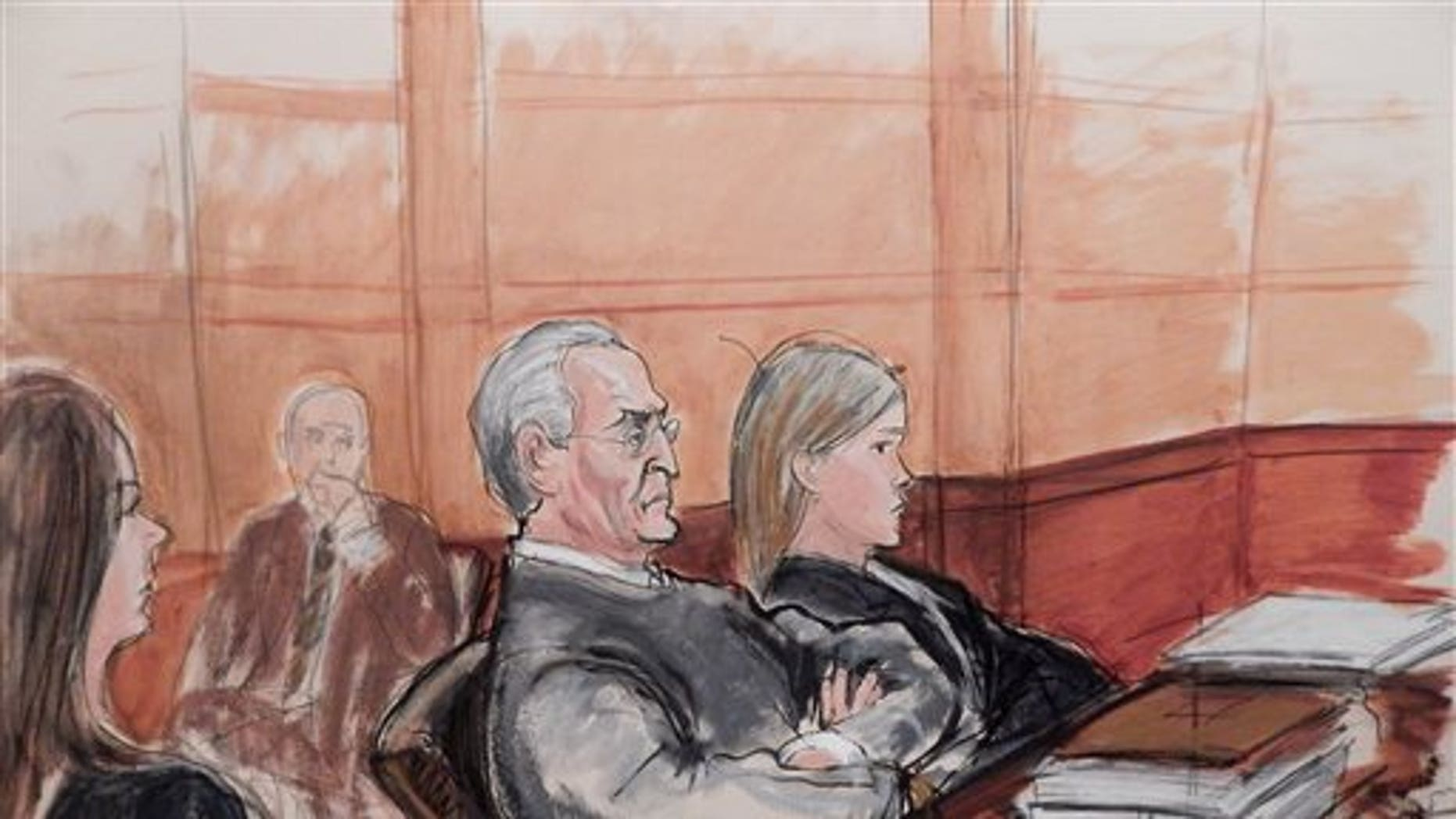 In this courtroom sketch, Vincent Asaro, 80, third from left, sits flanked by his defense attorneys during opening arguments Monday, in his federal racketeering conspiracy trial for his role in the JFK Airport cargo heist.  The dramatic robbery was immortalized in the film Goodfellas. (Elizabeth Williams via AP)