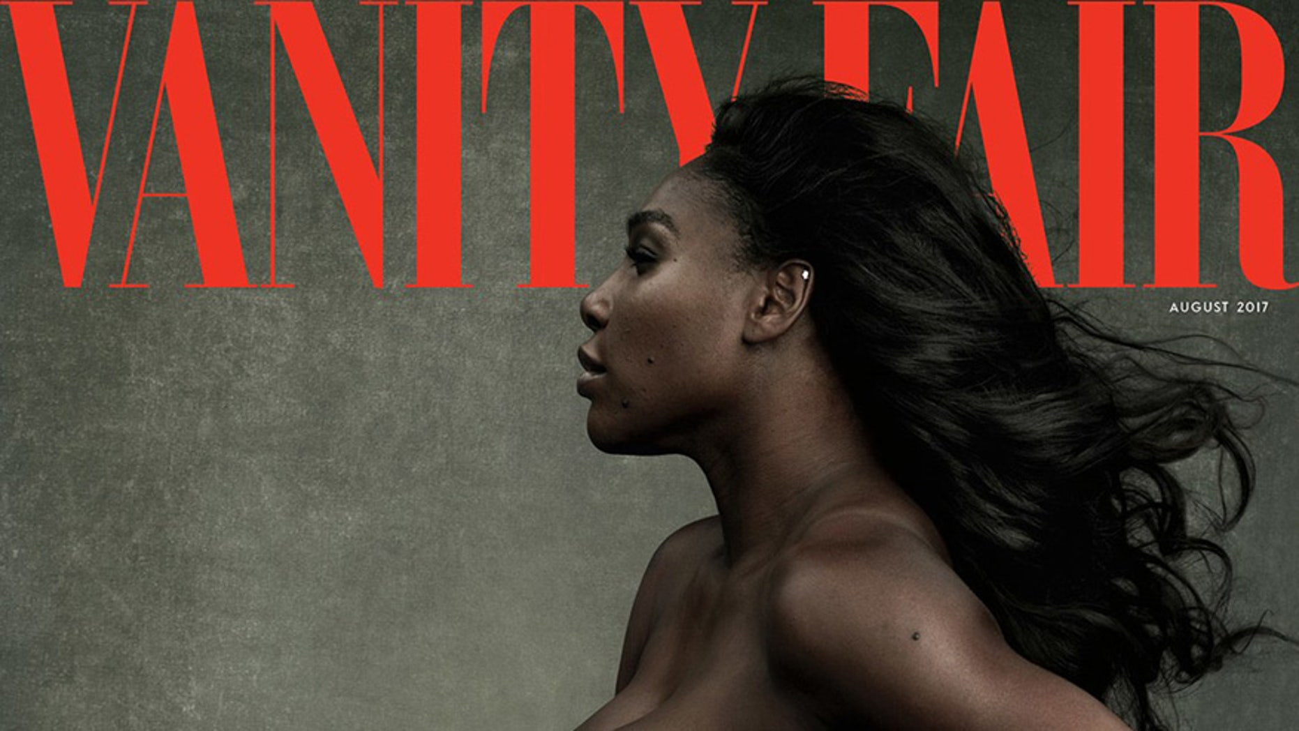 This image made by Annie Leibovitz exclusively for Vanity Fair shows the cover of the August edition of the magazine, unveiled Tuesday, June 27, 2017, featuring Serena Williams.