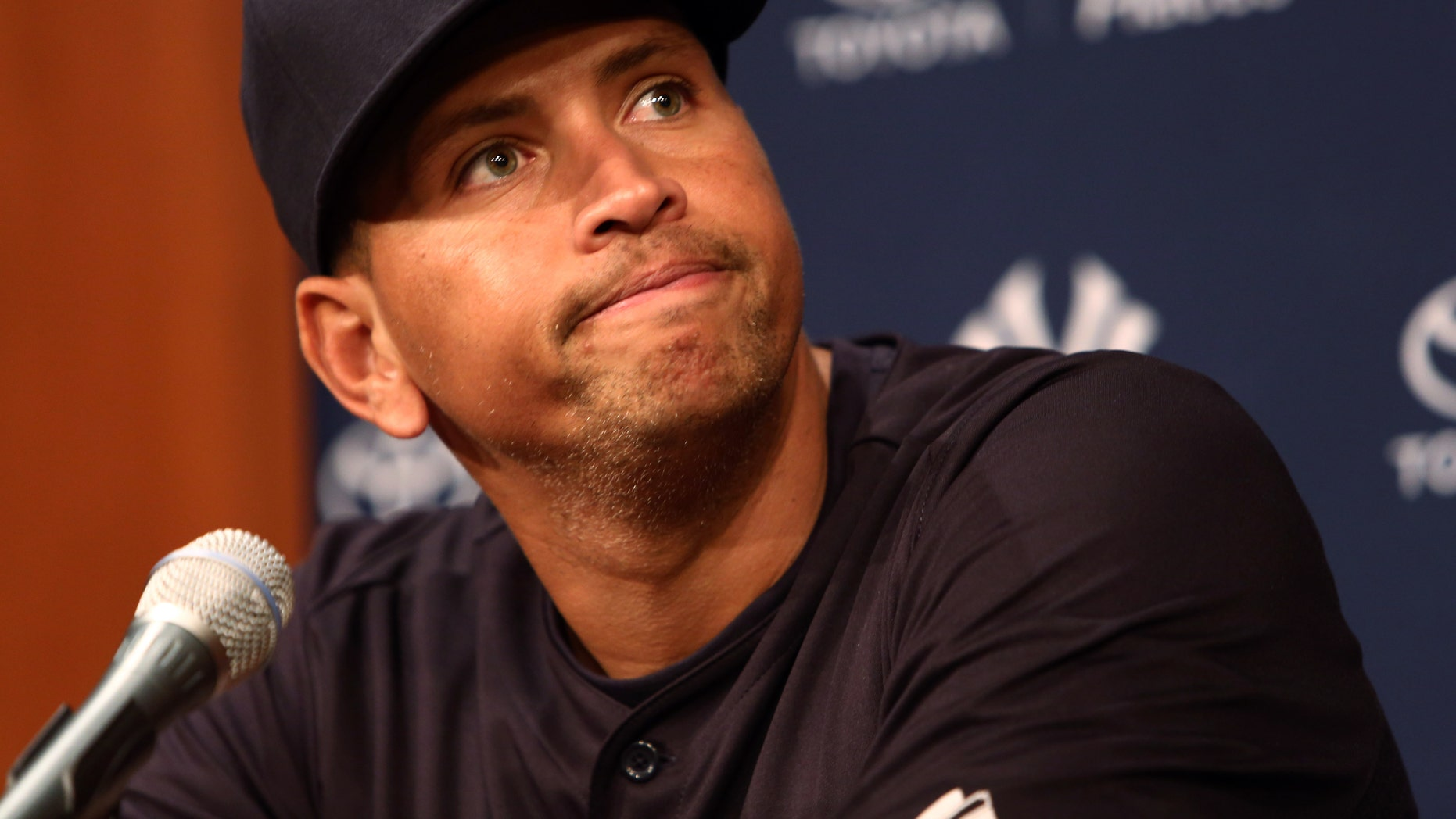 Alex Rodriguez, at yesterday's news conference. (AP Photo/Charles Cherney)