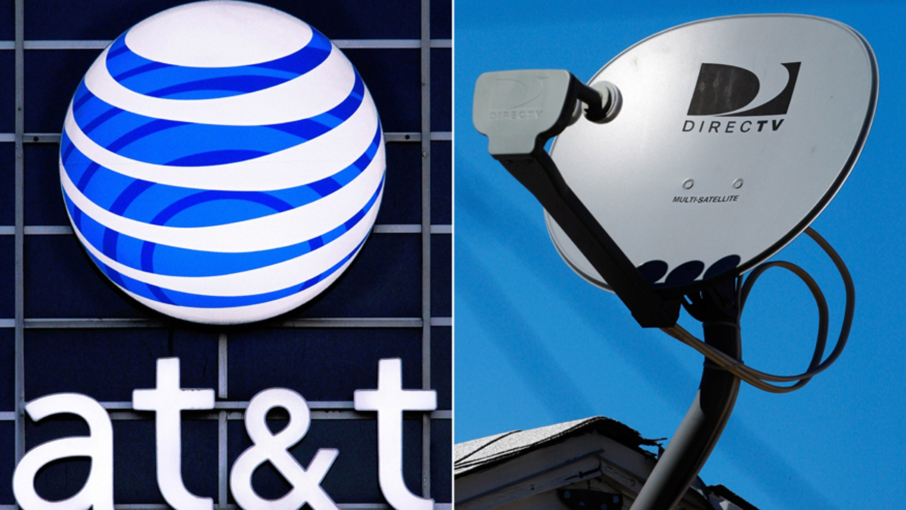 This file combo made from file photos shows the AT&T logo on the side of a corporate office in Springfield, Ill., left, and a DirecTV satellite dish atop a home in Los Angeles.