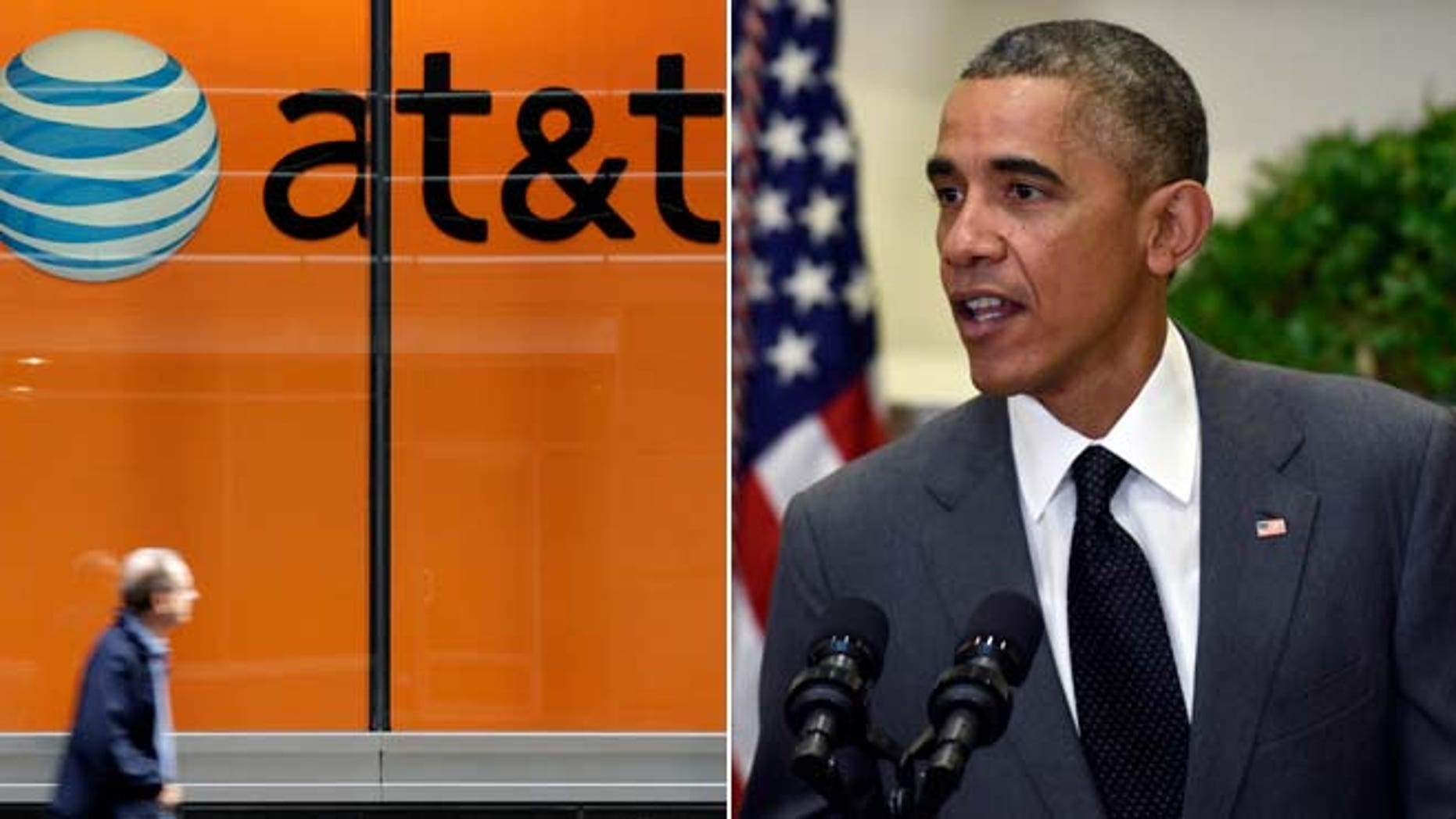 This Tuesday, Oct. 21, 2014 photo shows an AT&T store on New York's Madison Avenue and President Barack Obama on Saturday, Nov. 8, 2014, in the Roosevelt Room of the White House in Washington.